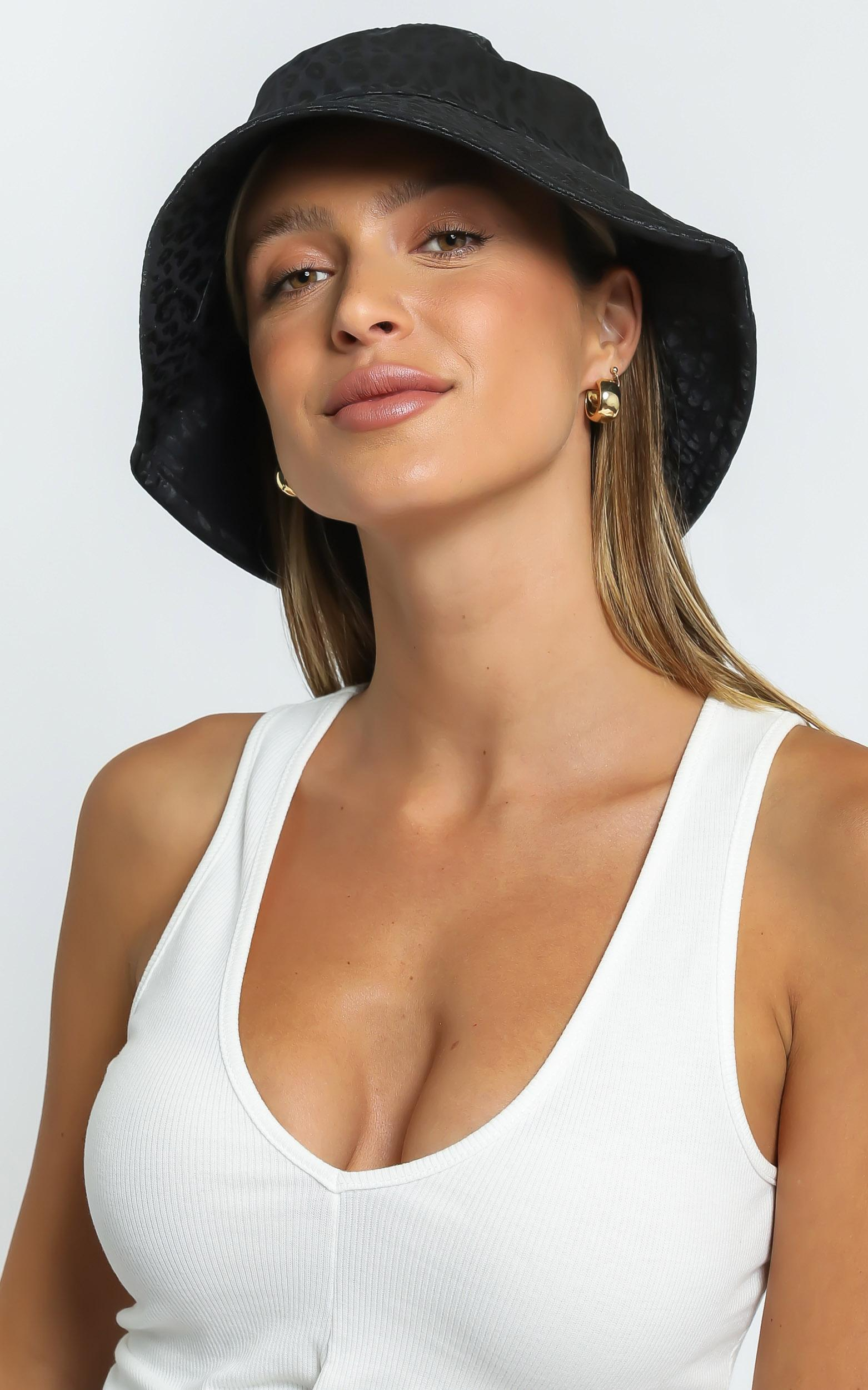 Thania Hat in Black Leopard, , hi-res image number null