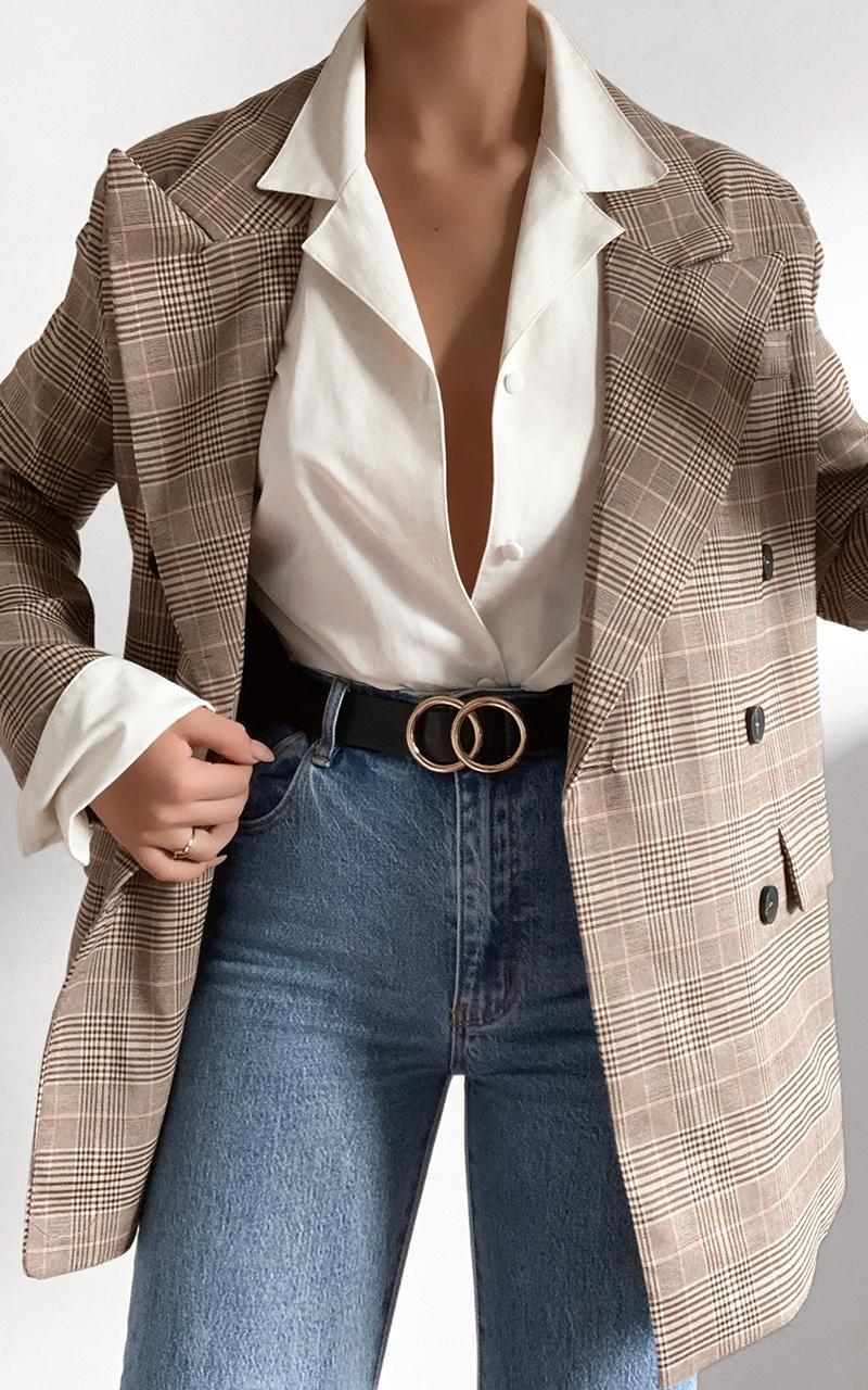 Kimmy Power Blazer in Beige Check - 8 (S), Beige, hi-res image number null