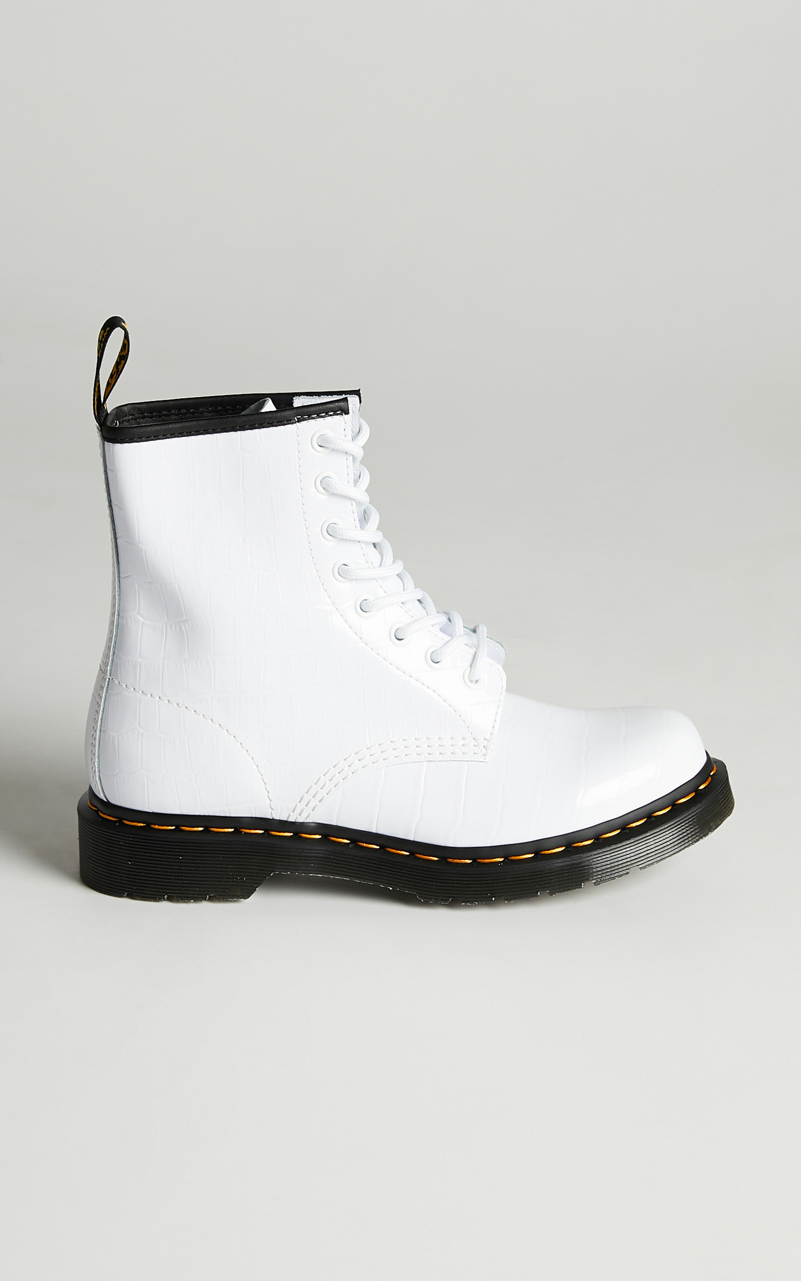Dr. Martens - 1460 W 8 Eye Boot in White Patent Lamper Croc Emboss - 06, WHT1, hi-res image number null