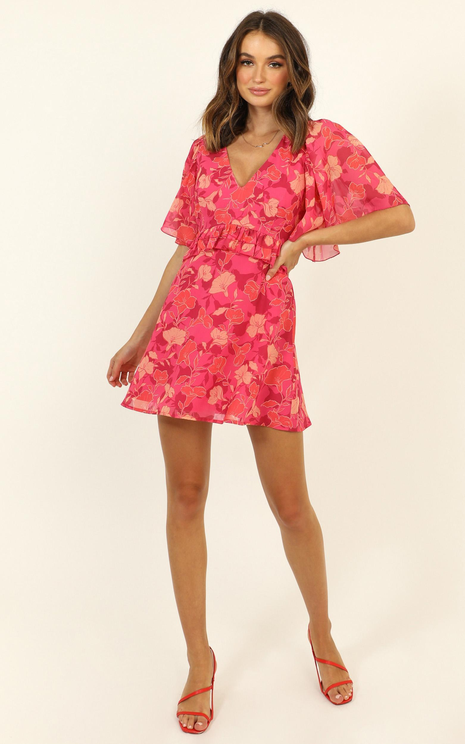 Seeing Colours Dress in berry floral - 20 (XXXXL), Pink, hi-res image number null