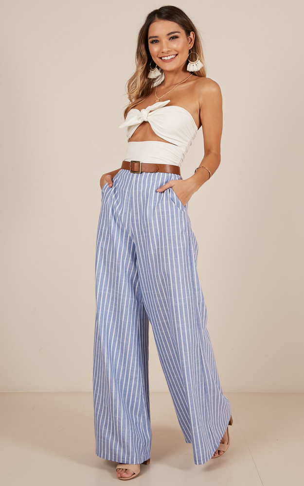 Midnight Daydream Pants in blue stripe linen look - 12 (L), Blue, hi-res image number null