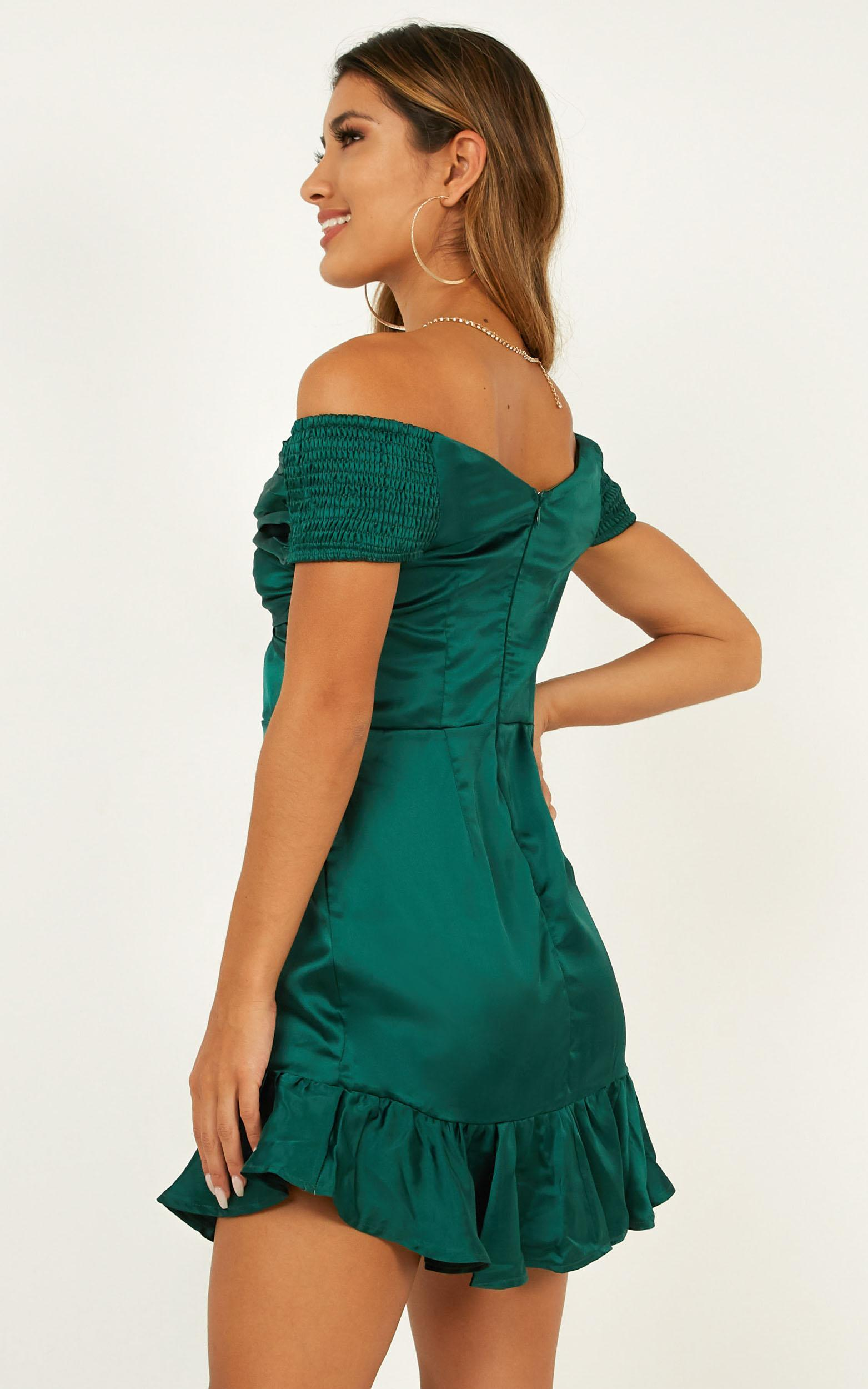 No Way Through dress in emerald satin - 12 (L), Green, hi-res image number null
