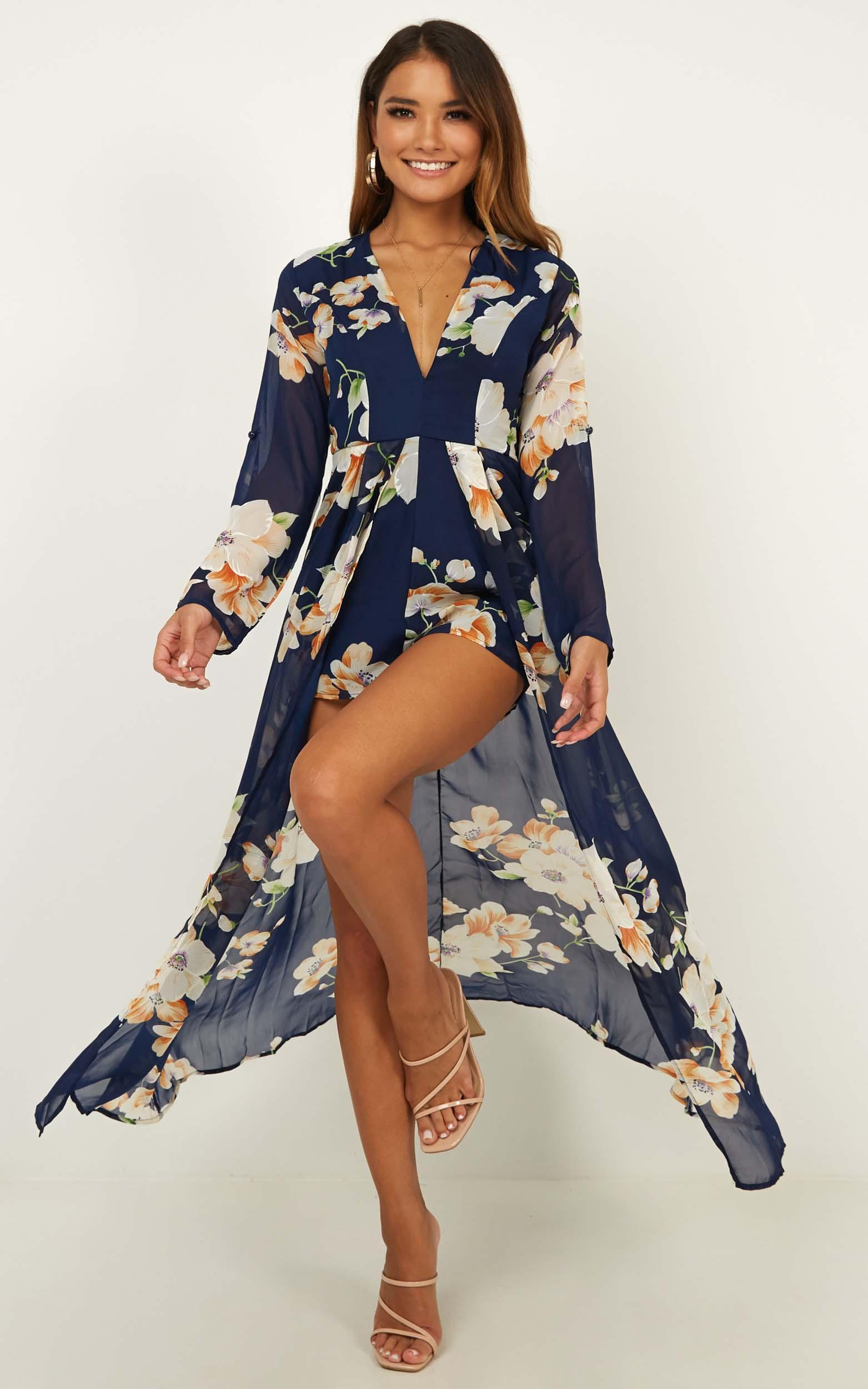 Steal the Show playsuit in navy tropical floral - 12 (L), Navy, hi-res image number null