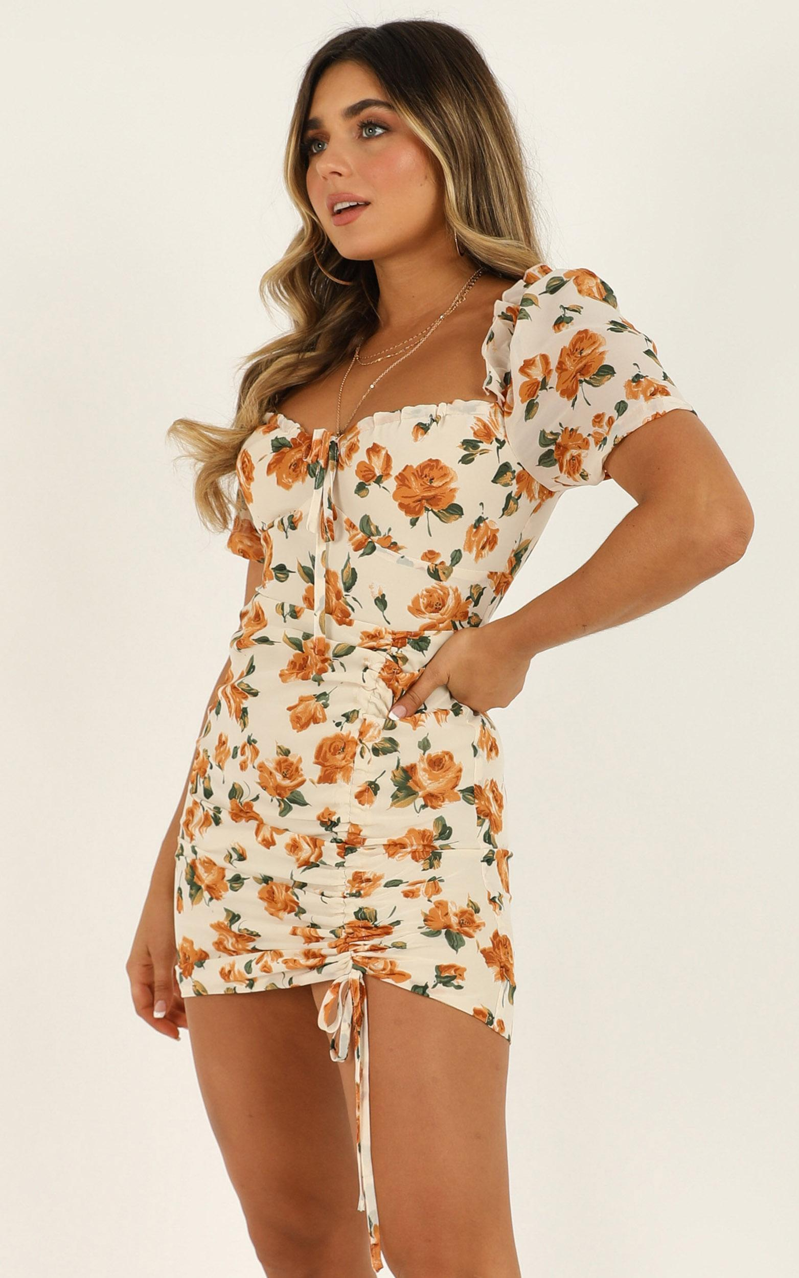 How About Now Dress in cream floral - 20 (XXXXL), Cream, hi-res image number null