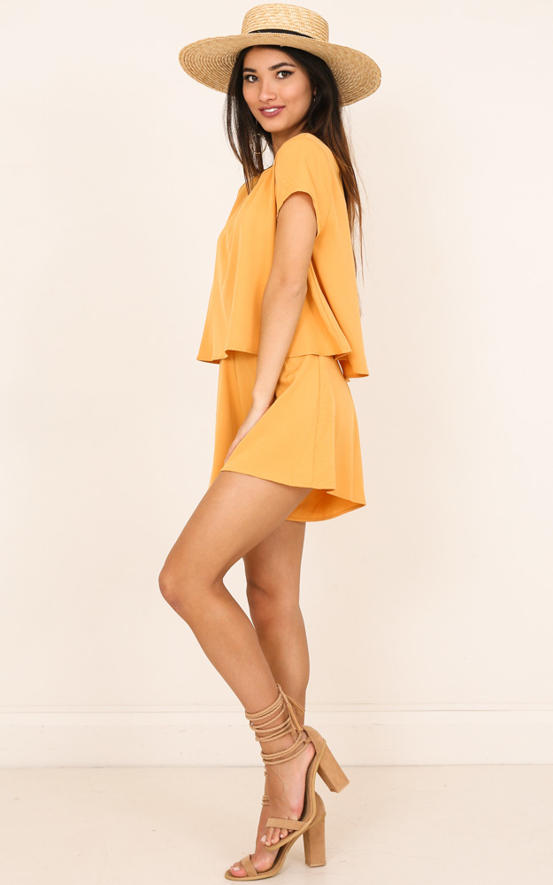 Sunny Dayz playsuit in mustard - 6 (XS), Mustard, hi-res image number null