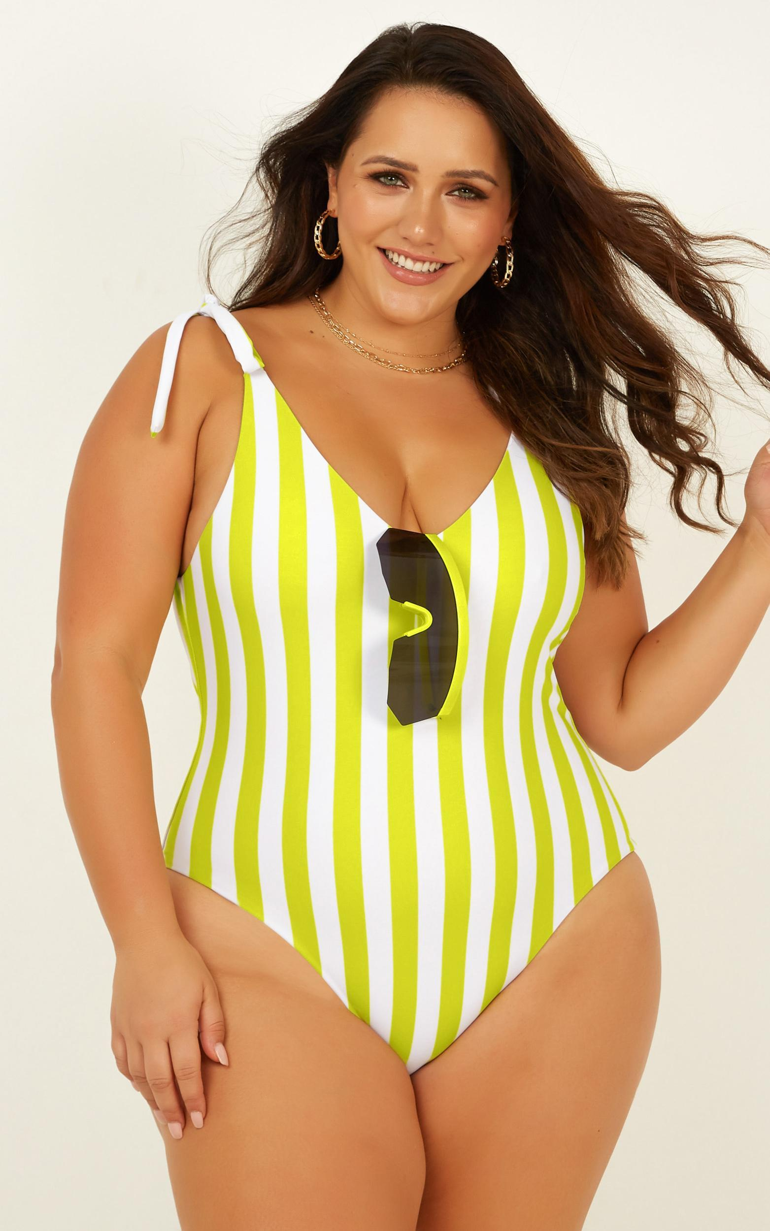 Avery One piece in lime stripe - 20 (XXXXL), Green, hi-res image number null