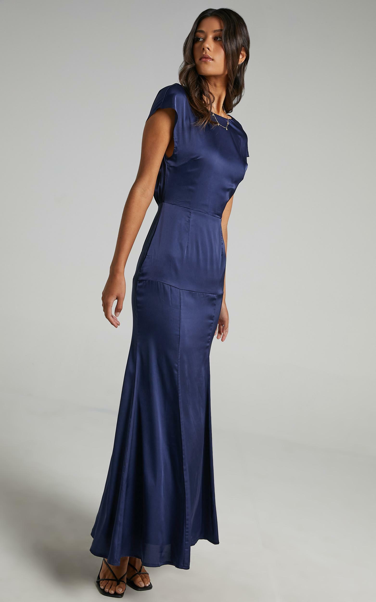 Nour Dress in Navy Satin - 06, NVY2, hi-res image number null