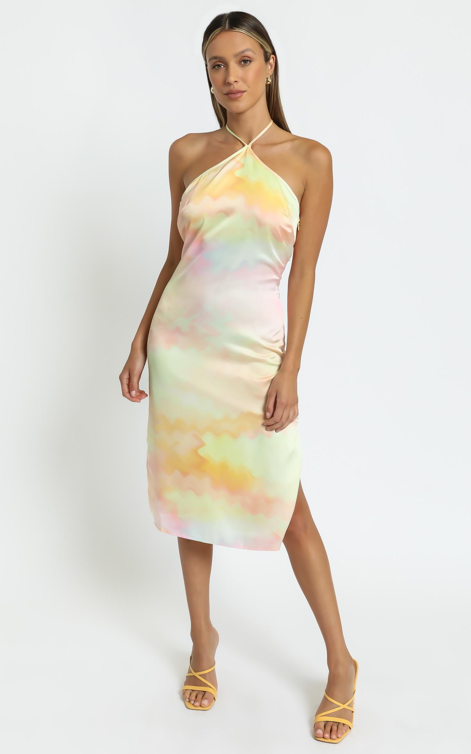 Danna Midi dress in Yellow Tie Dye - 6 (XS), Yellow, hi-res image number null