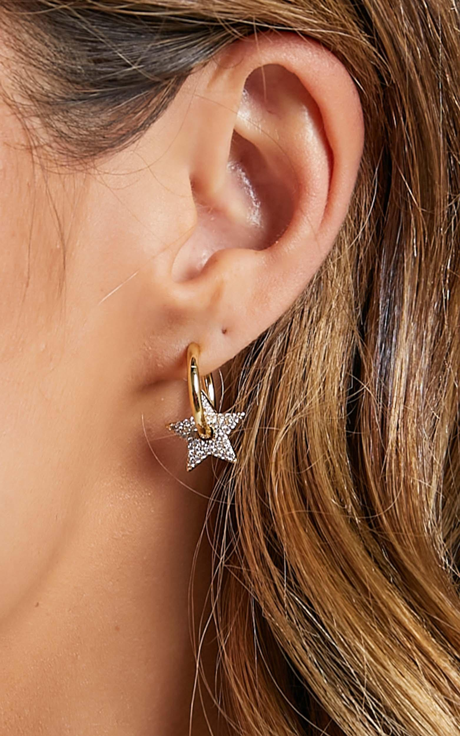 Luv AJ - Pave Star Charm Hoops in Gold, , hi-res image number null