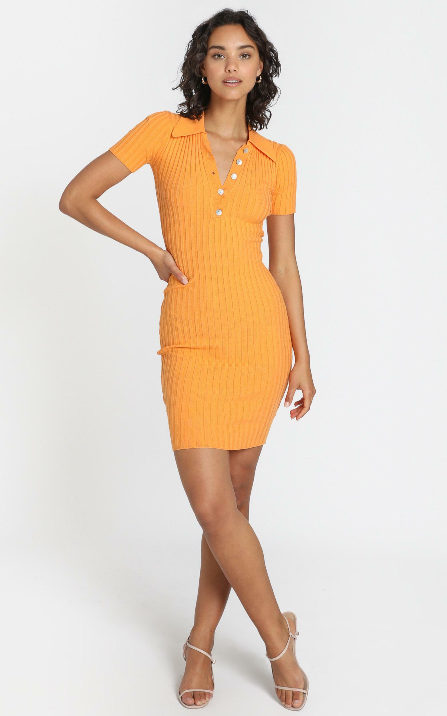 Callen Knit Dress In Mango - S/M, Orange, hi-res image number null