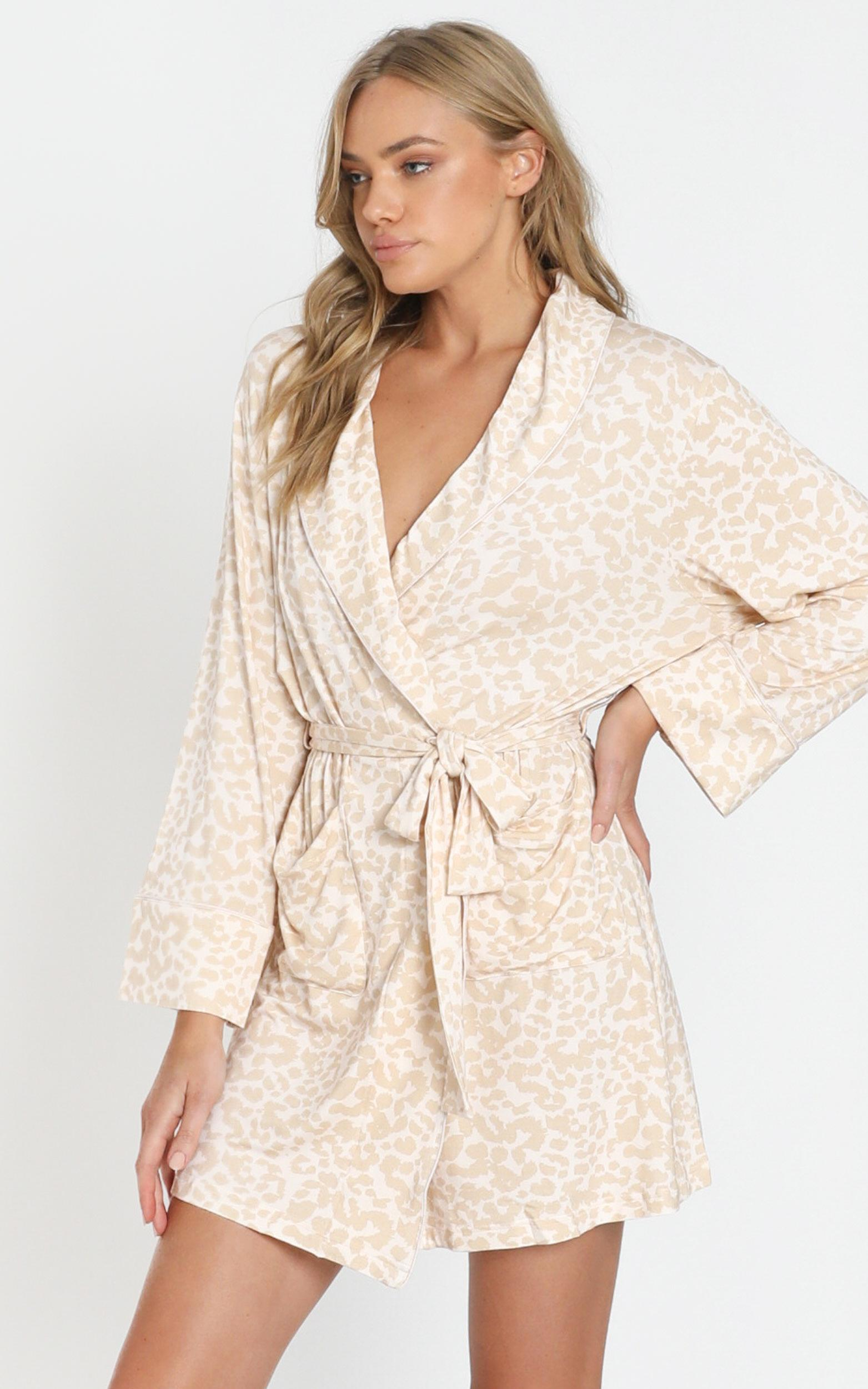 Project REM Wrap Gown in Leopard - 6 (XS), Beige, hi-res image number null