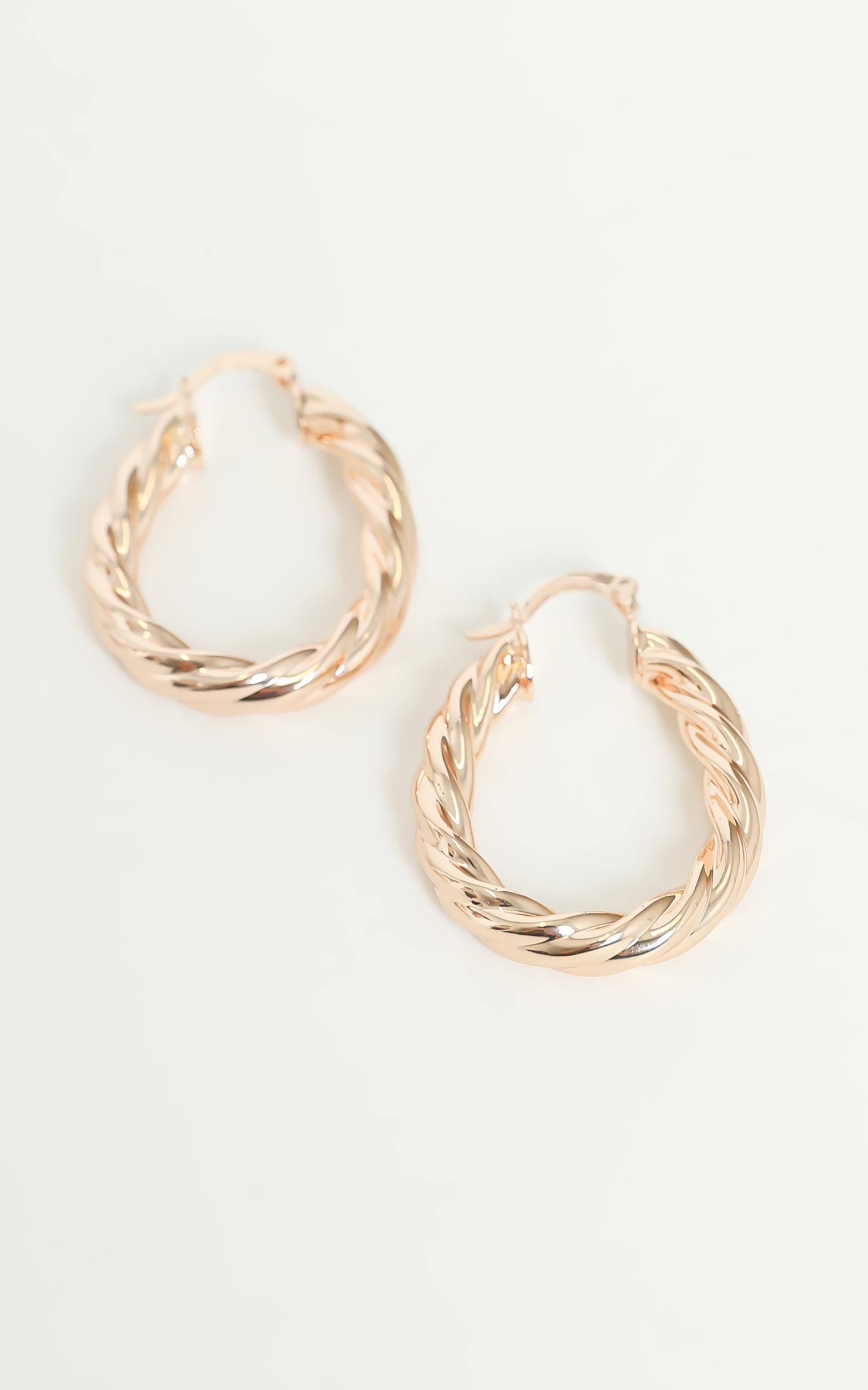Twisted Hoop Earrings in Gold, , hi-res image number null