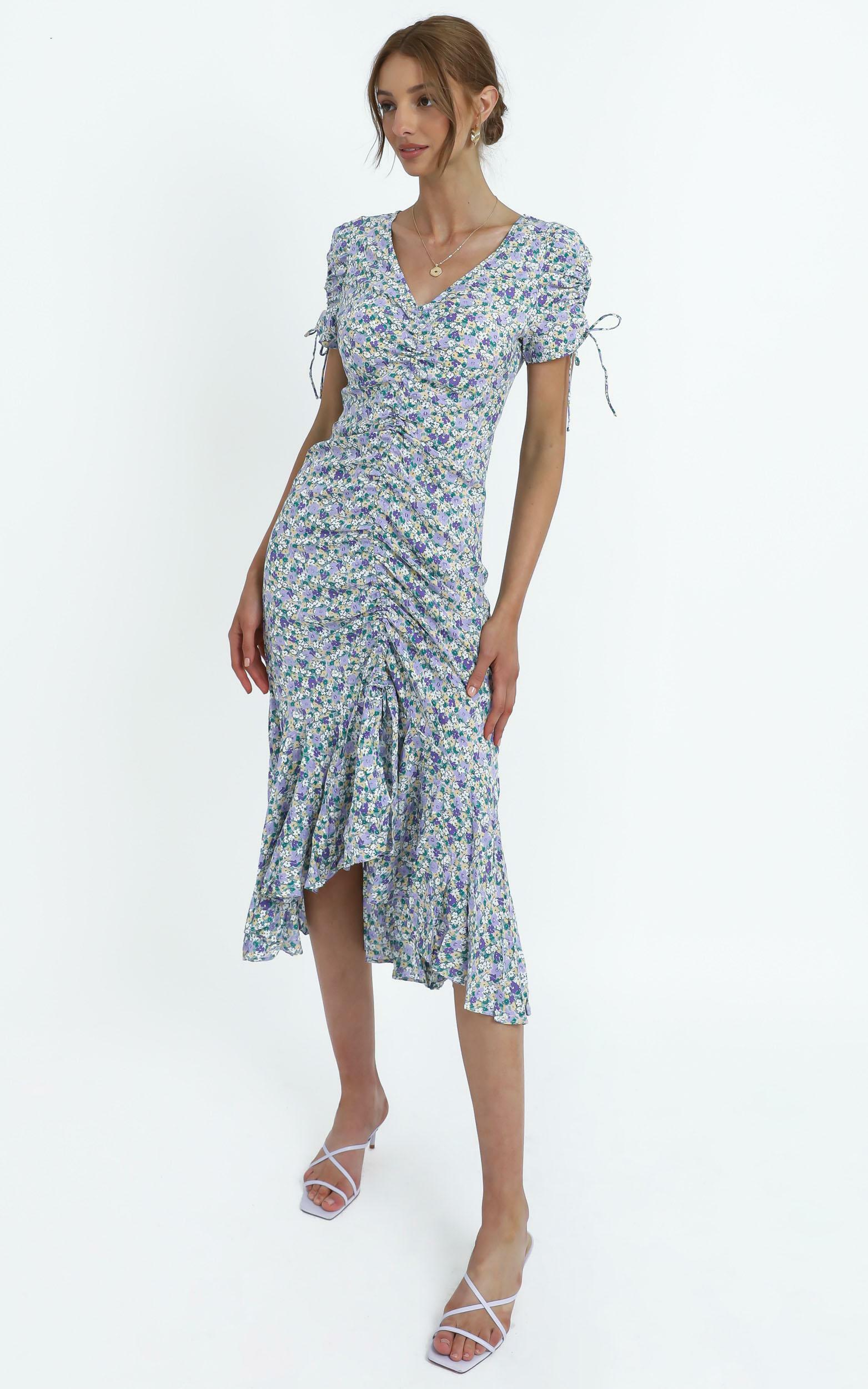 Vienna Dress in Blue Floral - 14 (XL), Blue, hi-res image number null