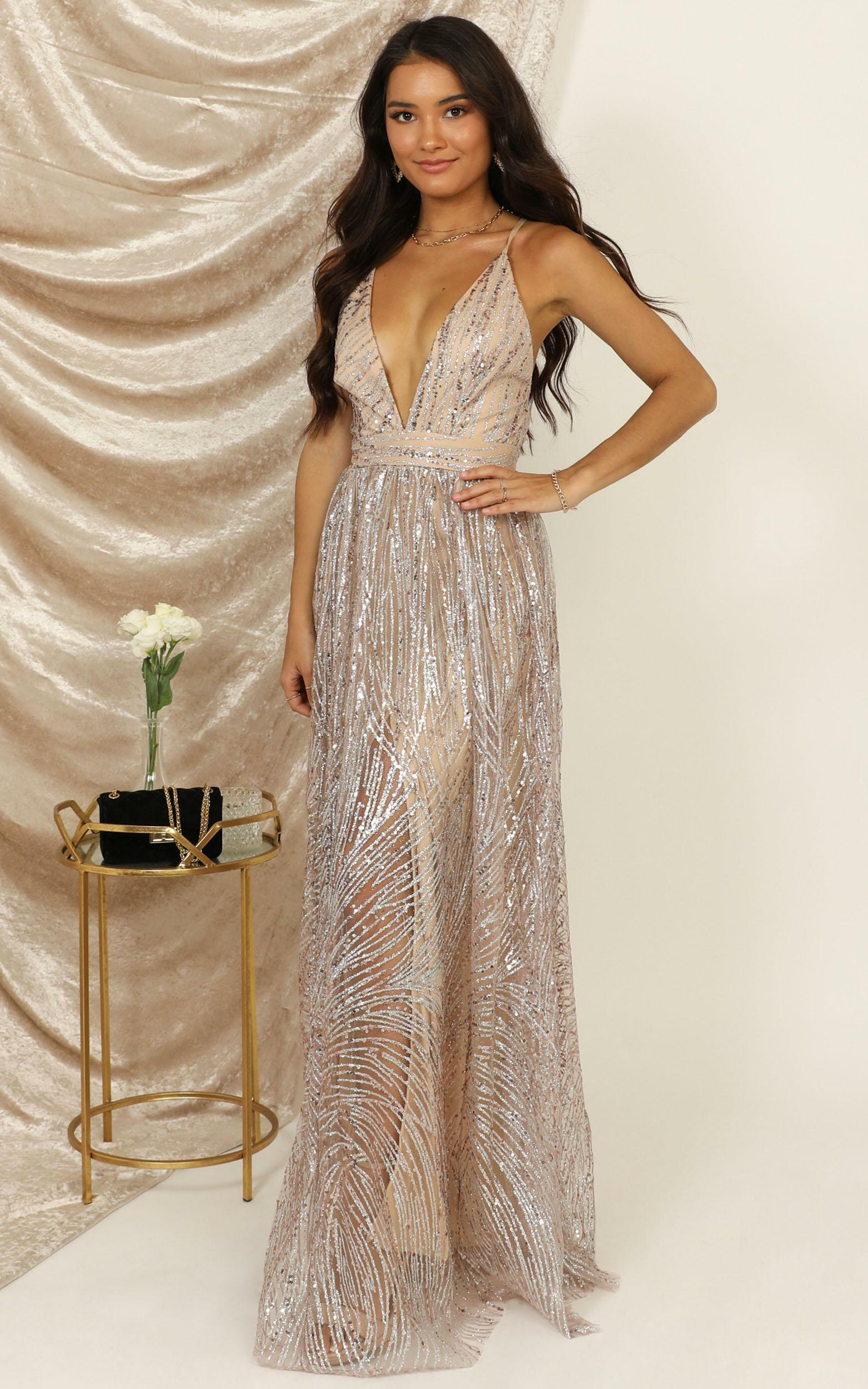 Beautiful Day maxi dress in blush sequin - 12 (L), Blush, hi-res image number null