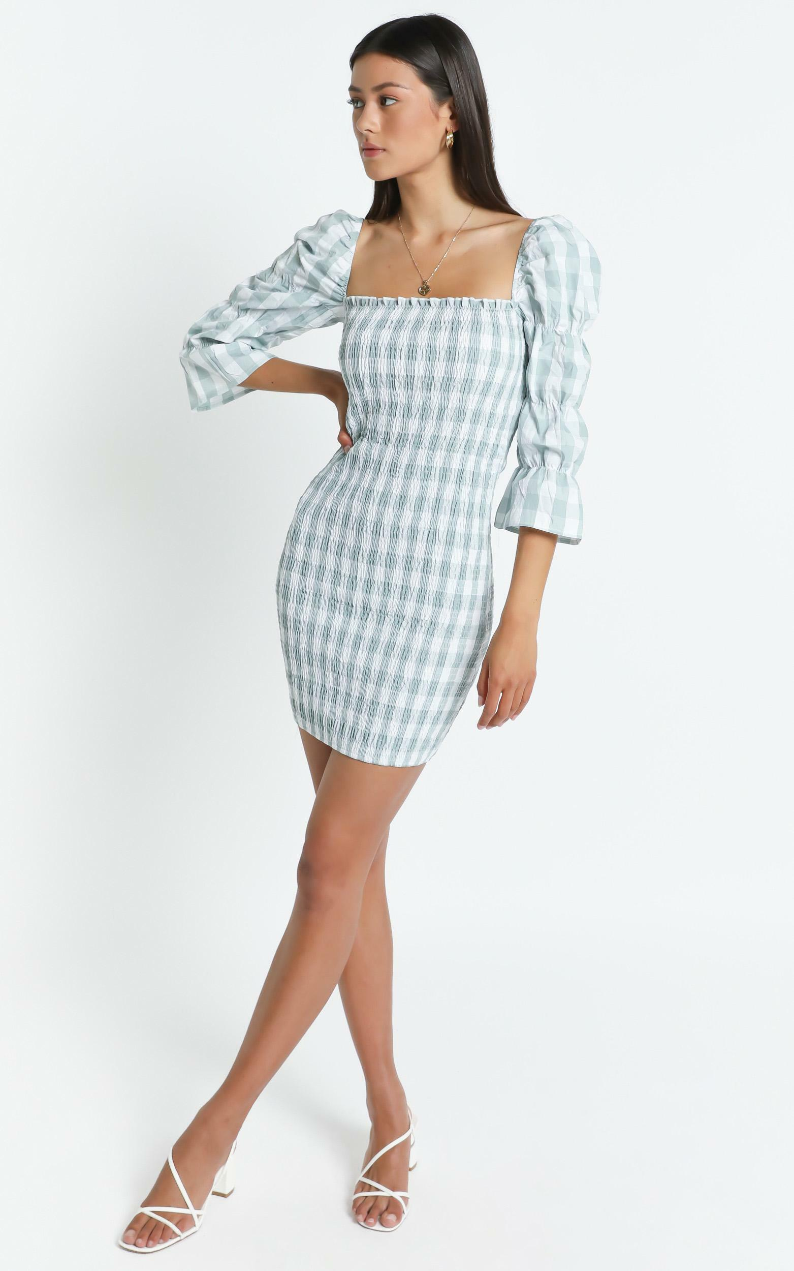 Peters Dress in Sage Check - 6 (XS), Sage, hi-res image number null