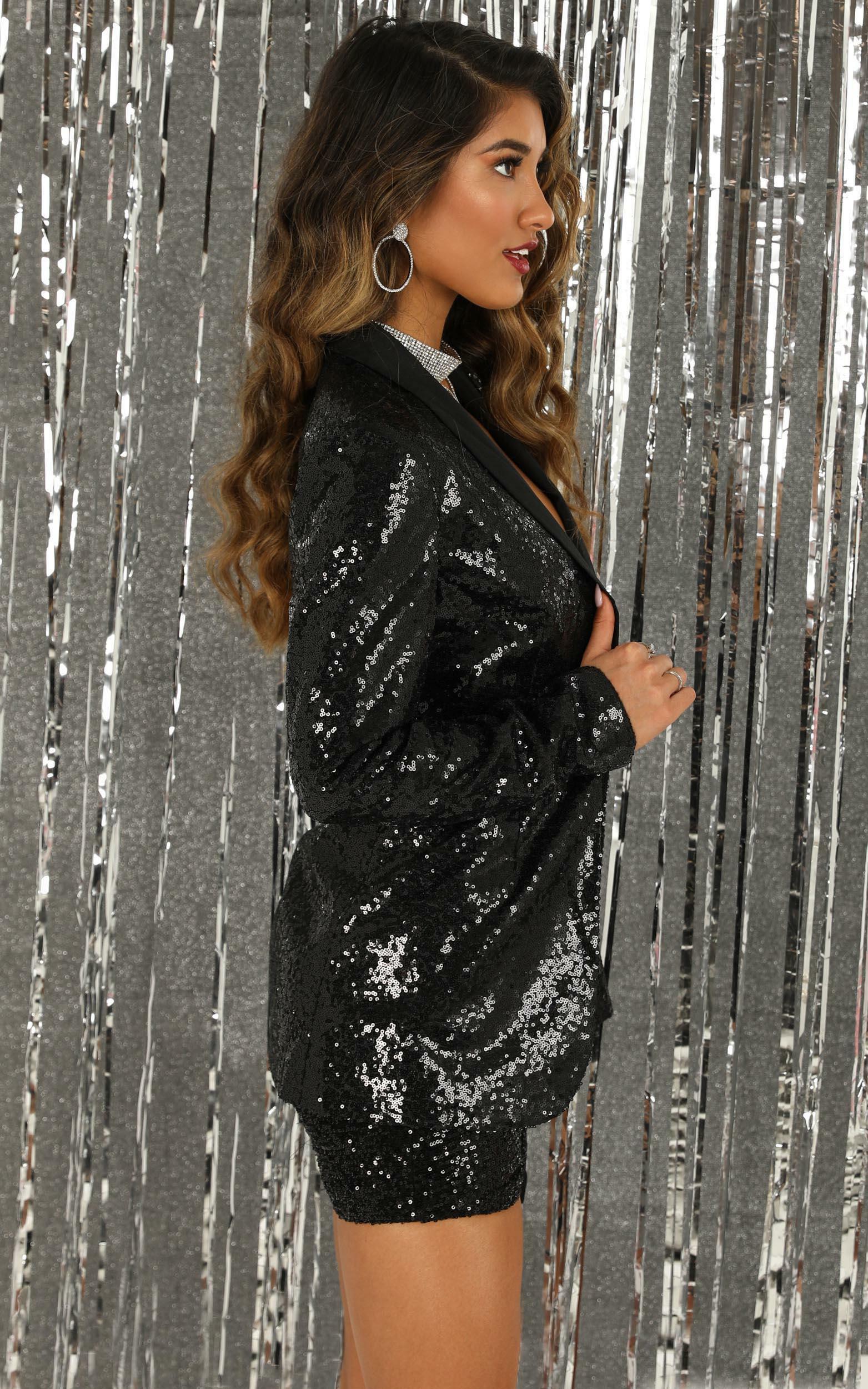 Freestyler blazer in black sequin - 14 (XL), Black, hi-res image number null