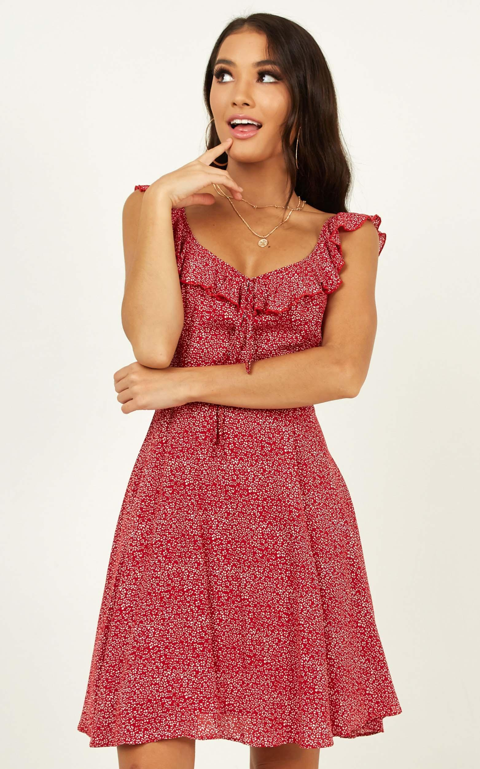Not My Issue Dress in red floral - 20 (XXXXL), Red, hi-res image number null