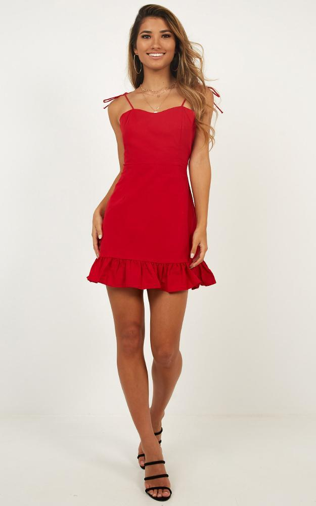 Celebrate The Day Dress in red linen look- 20 (XXXXL), Red, hi-res image number null