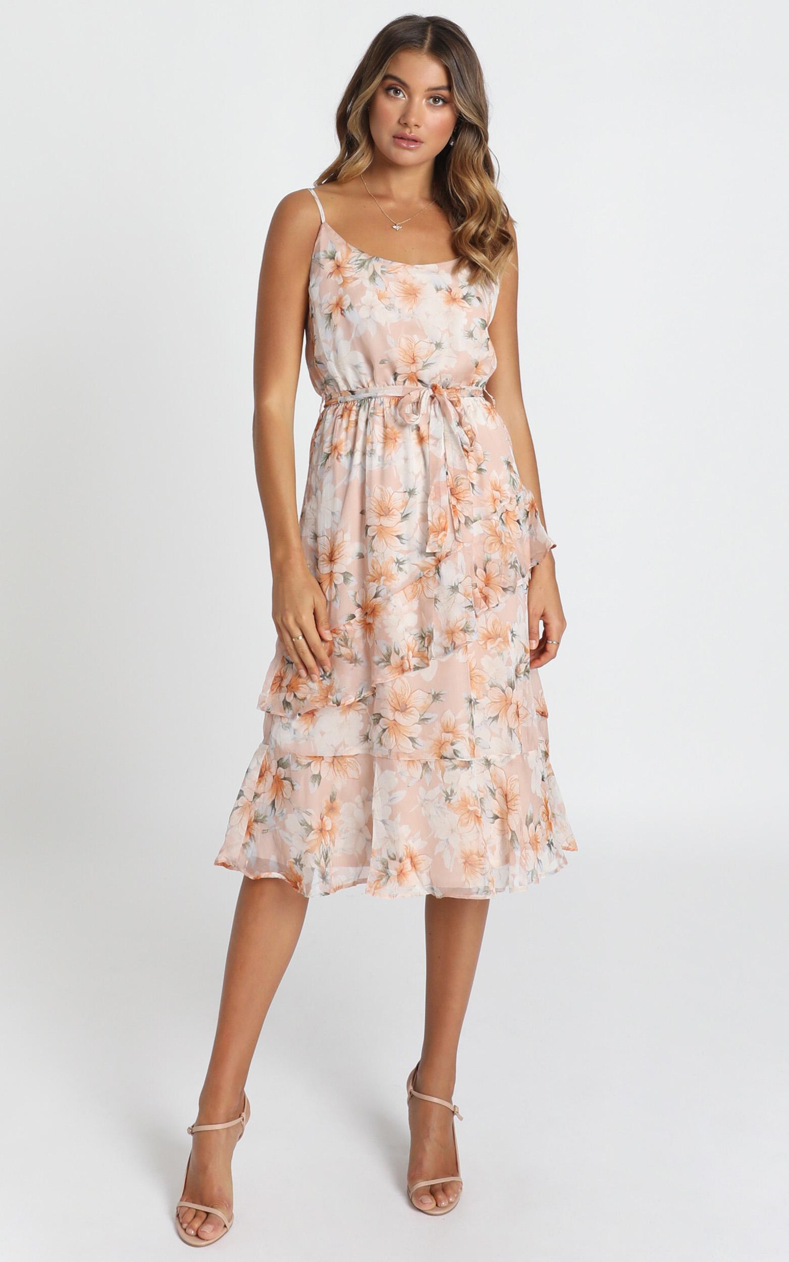 Dinah Frill Detail Midi Dress in blush floral - 12 (L), Blush, hi-res image number null