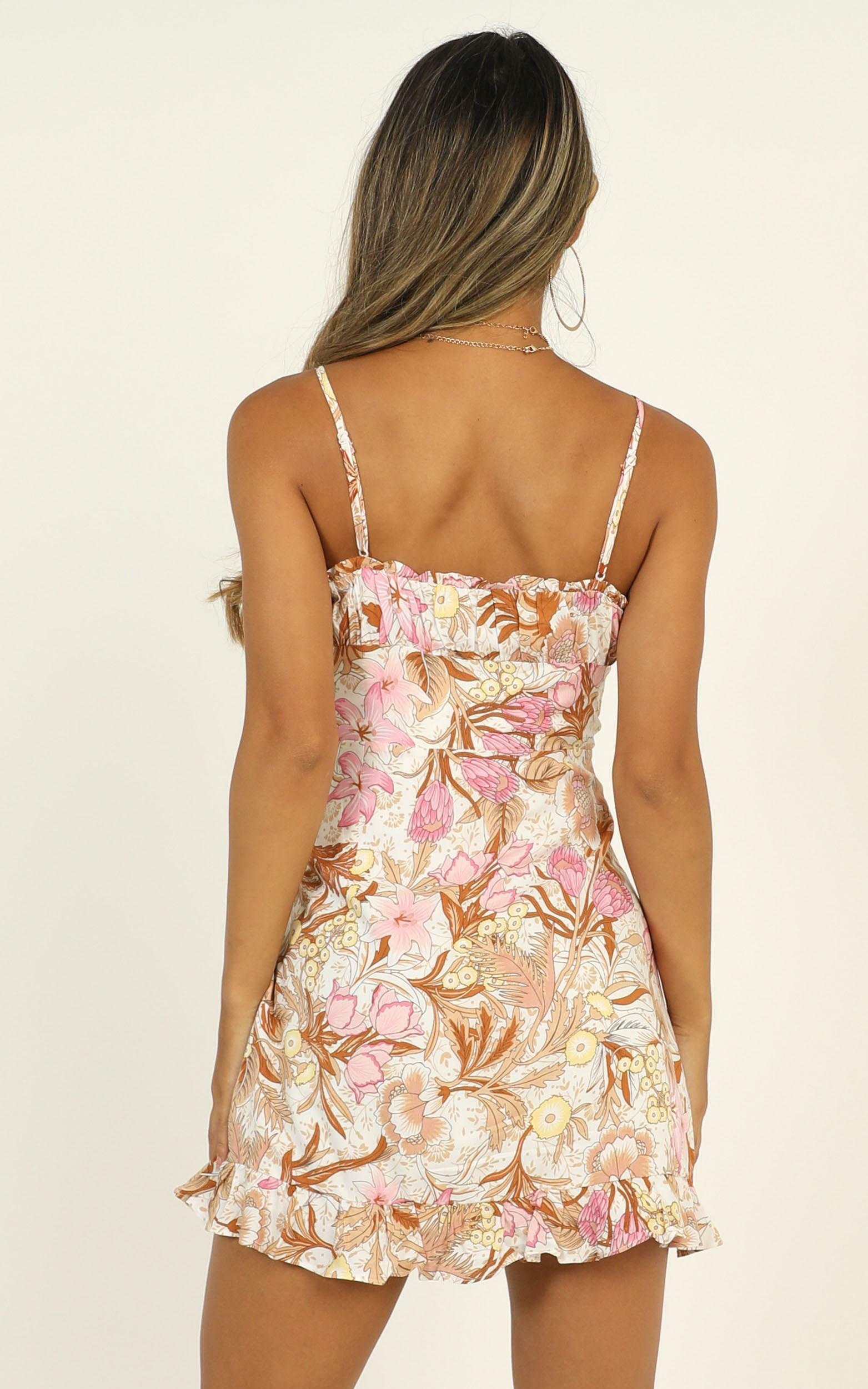 Callie Dress in Pink Tropical Floral, Orange, hi-res image number null