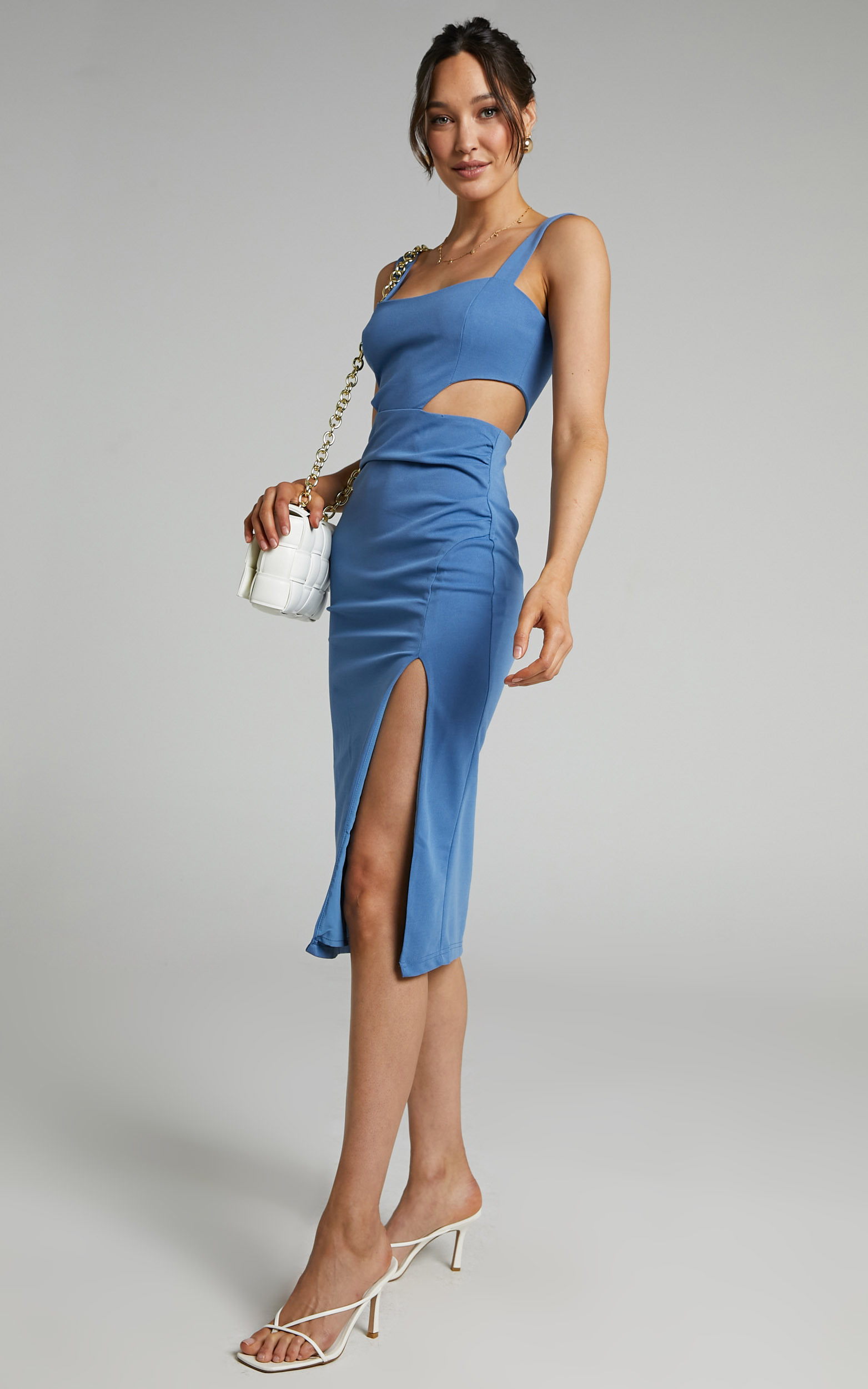 Milah Square Neck Cut Out Midi Dress in Cornflower Blue - 06, BLU2, hi-res image number null