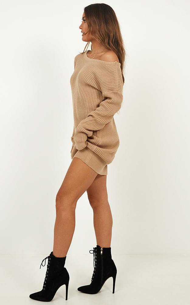 Weve Only Just Began Knit Dress in mocha - 20 (XXXXL), Mocha, hi-res image number null