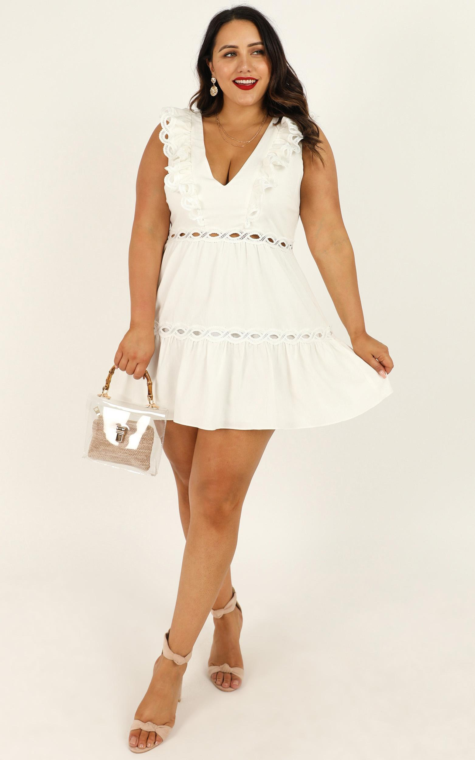 I Want It Dress in white linen look - 20 (XXXXL), White, hi-res image number null