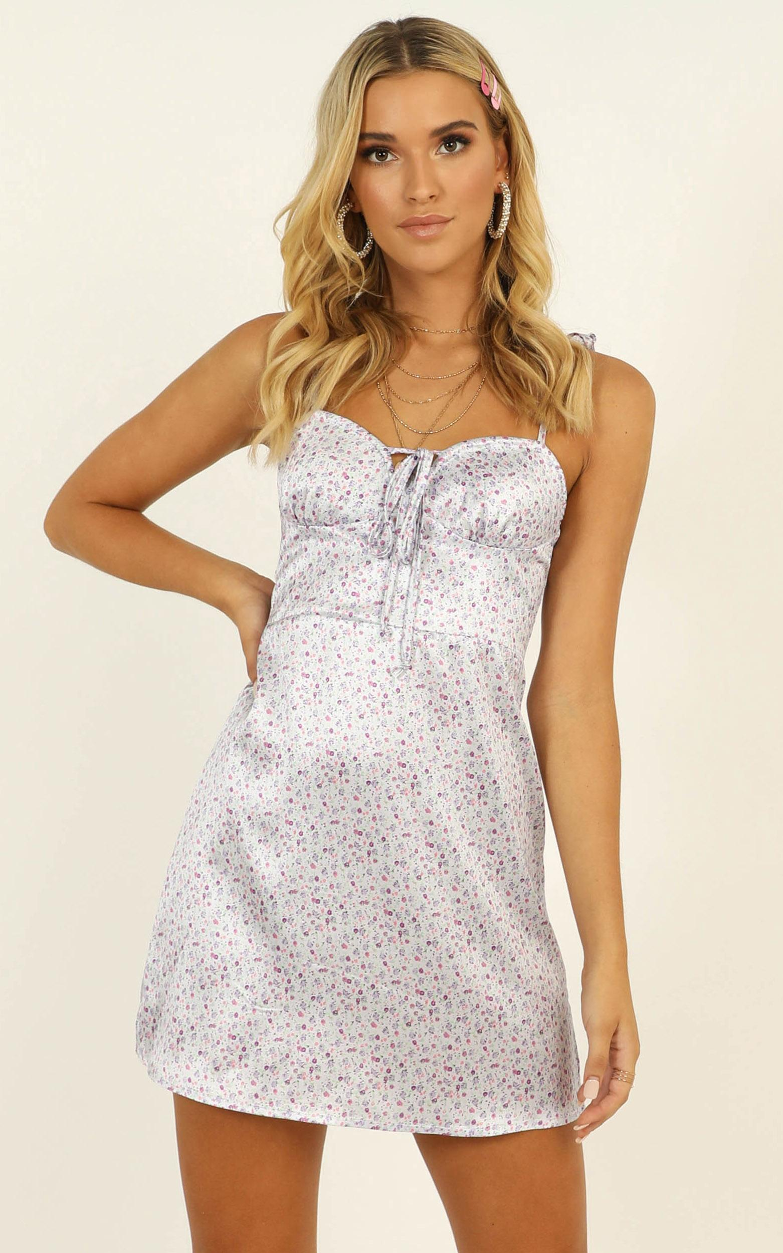 To Be True dress in lilac floral satin - 12 (L), Purple, hi-res image number null