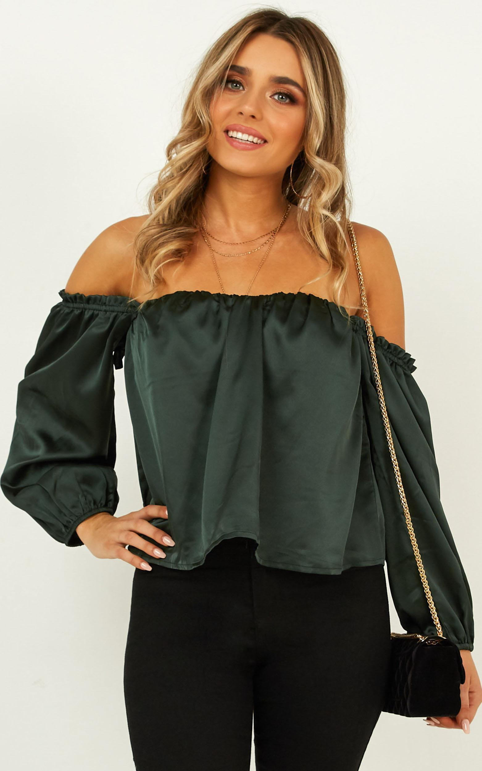 Court Love top in emerald satin - 12 (L), Green, hi-res image number null