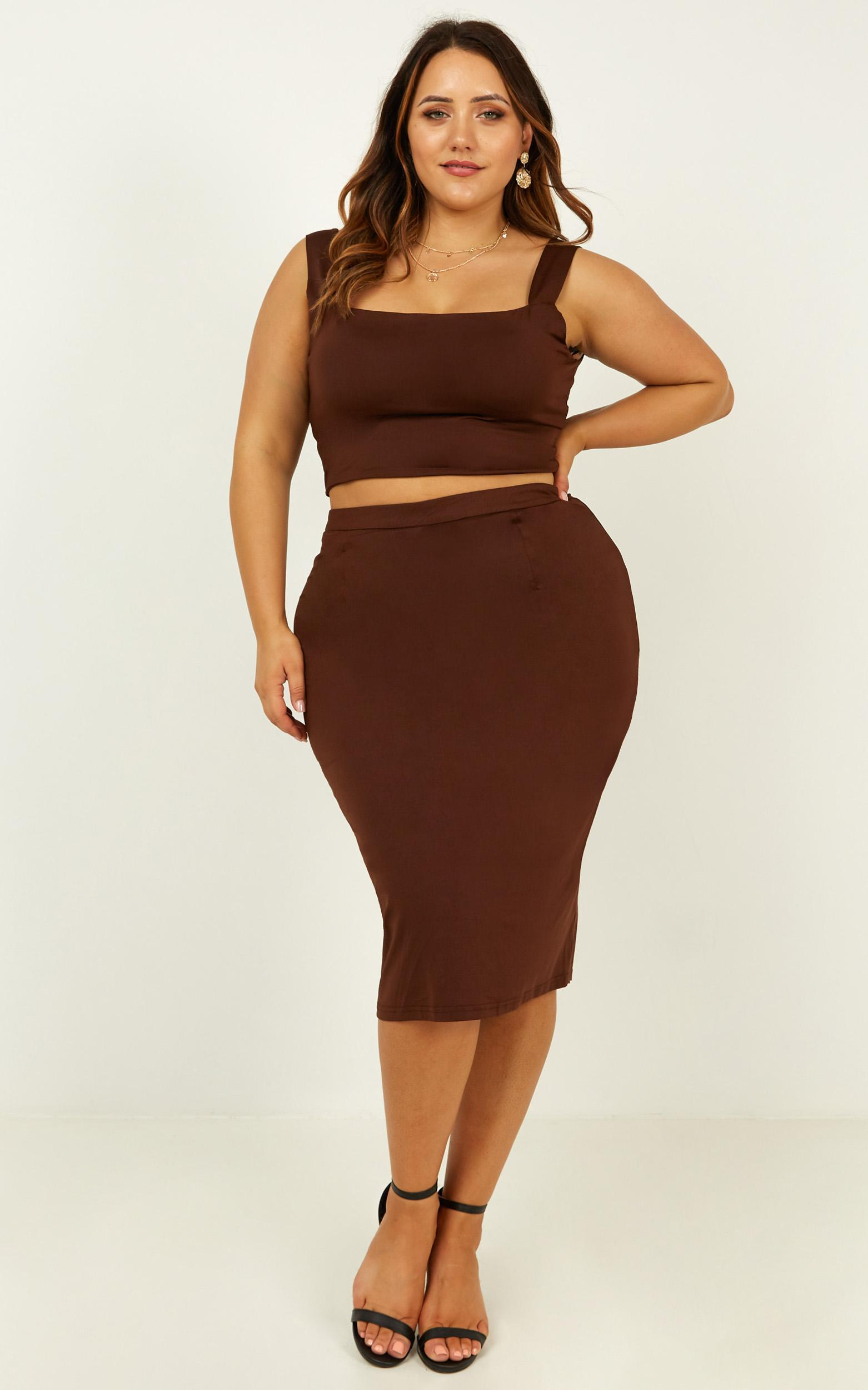 Start Feeling Two Piece Set In chocolate - 18 (XXXL), Brown, hi-res image number null
