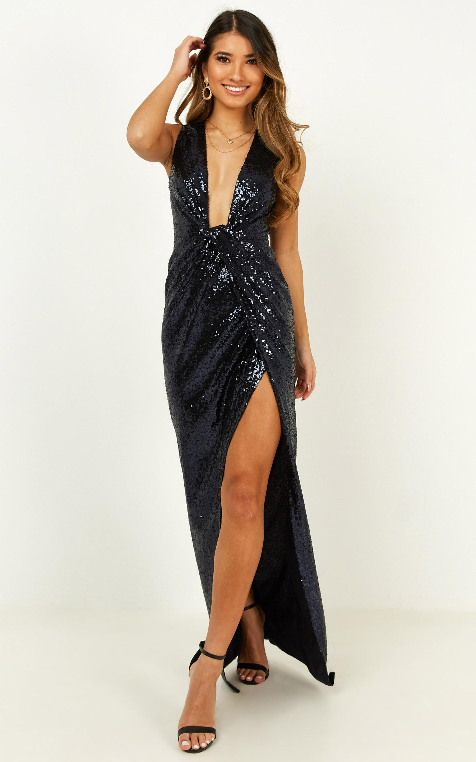Shine a light dress in navy sequin - 16 (XXL), Navy, hi-res image number null