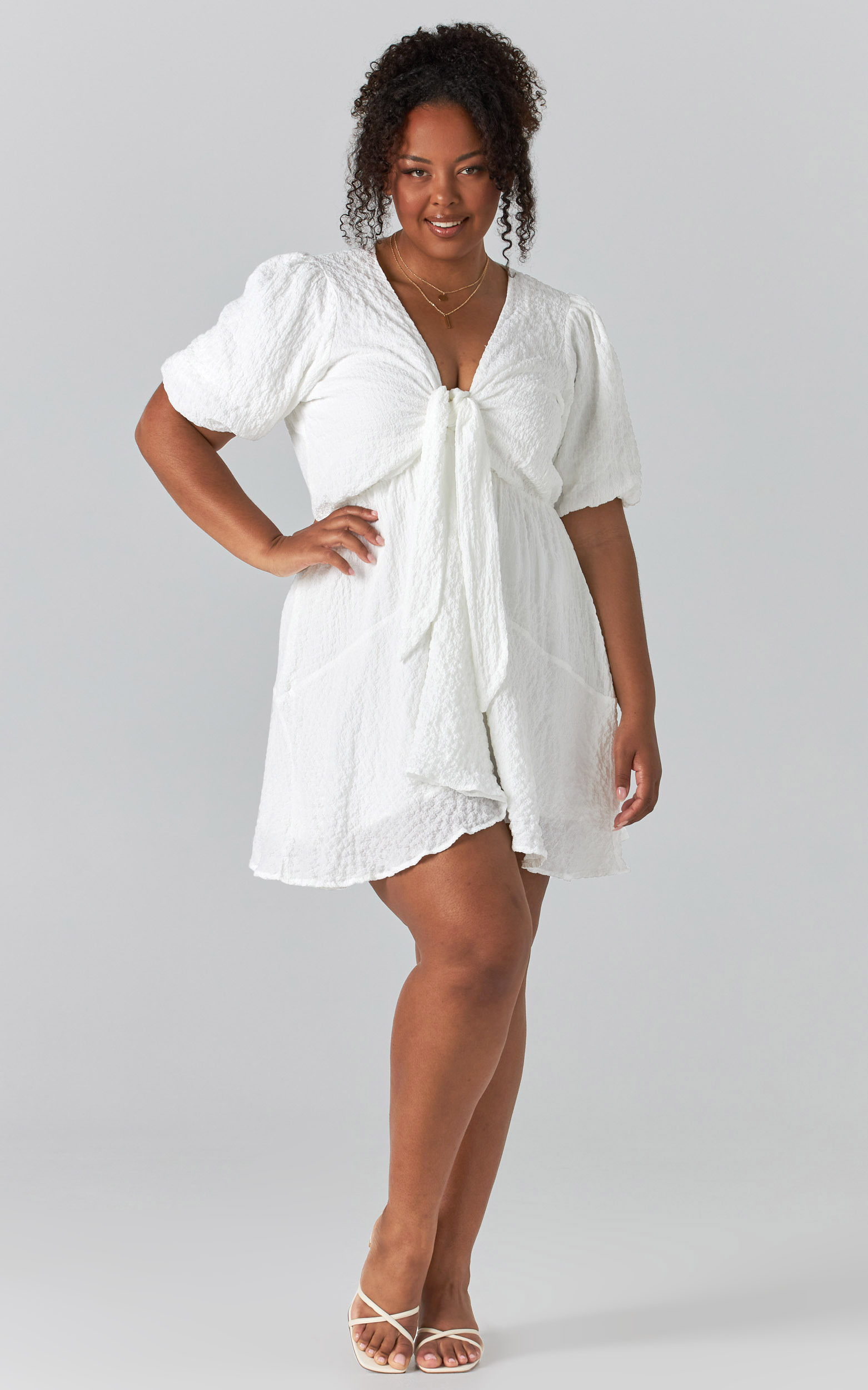 Rosalei Puff Sleeve Tie Front Mini Dress in White - 04, WHT2, hi-res image number null