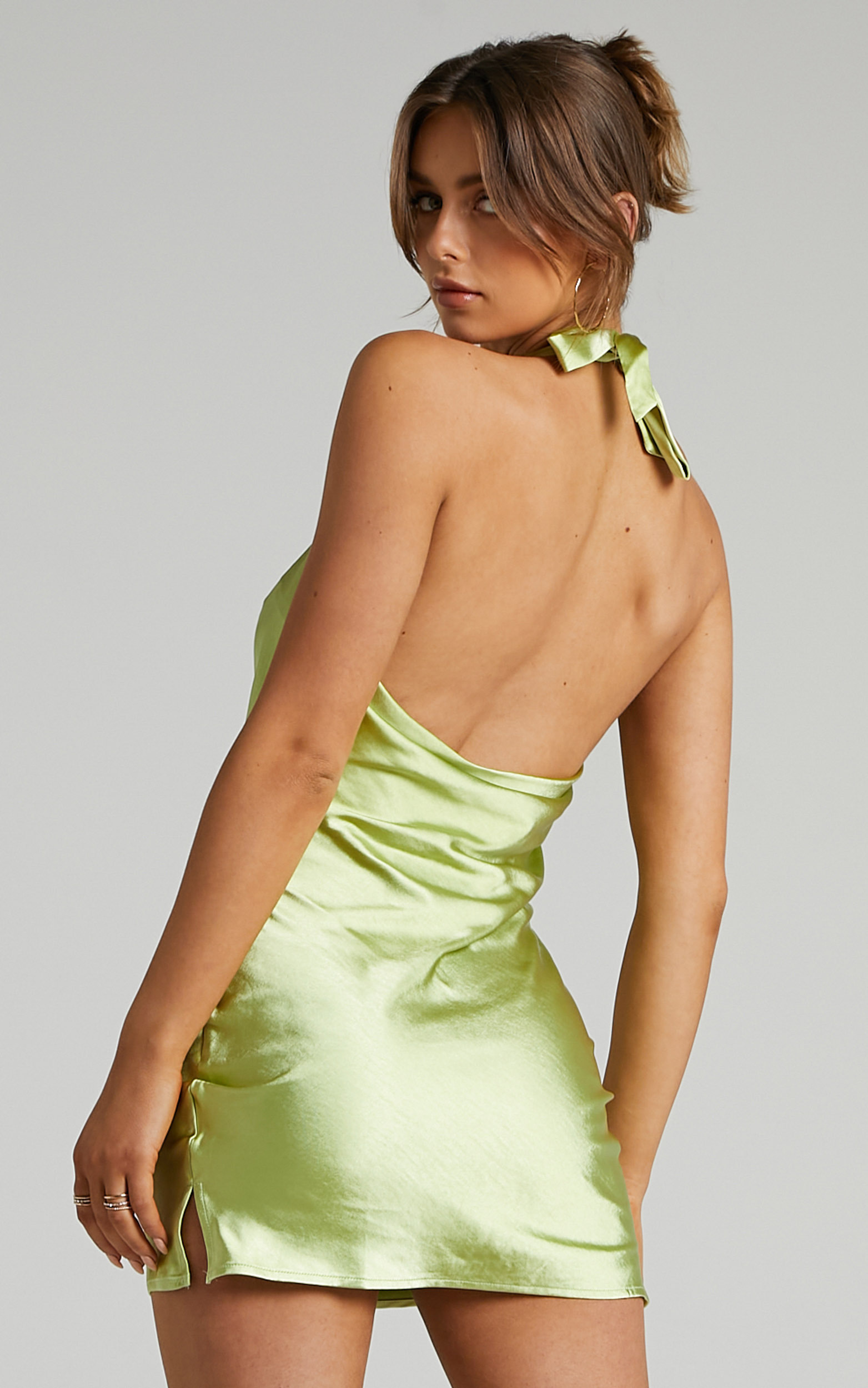 Waverly Halter Dress with Cowl Neckline in Green - 04, GRN1, hi-res image number null