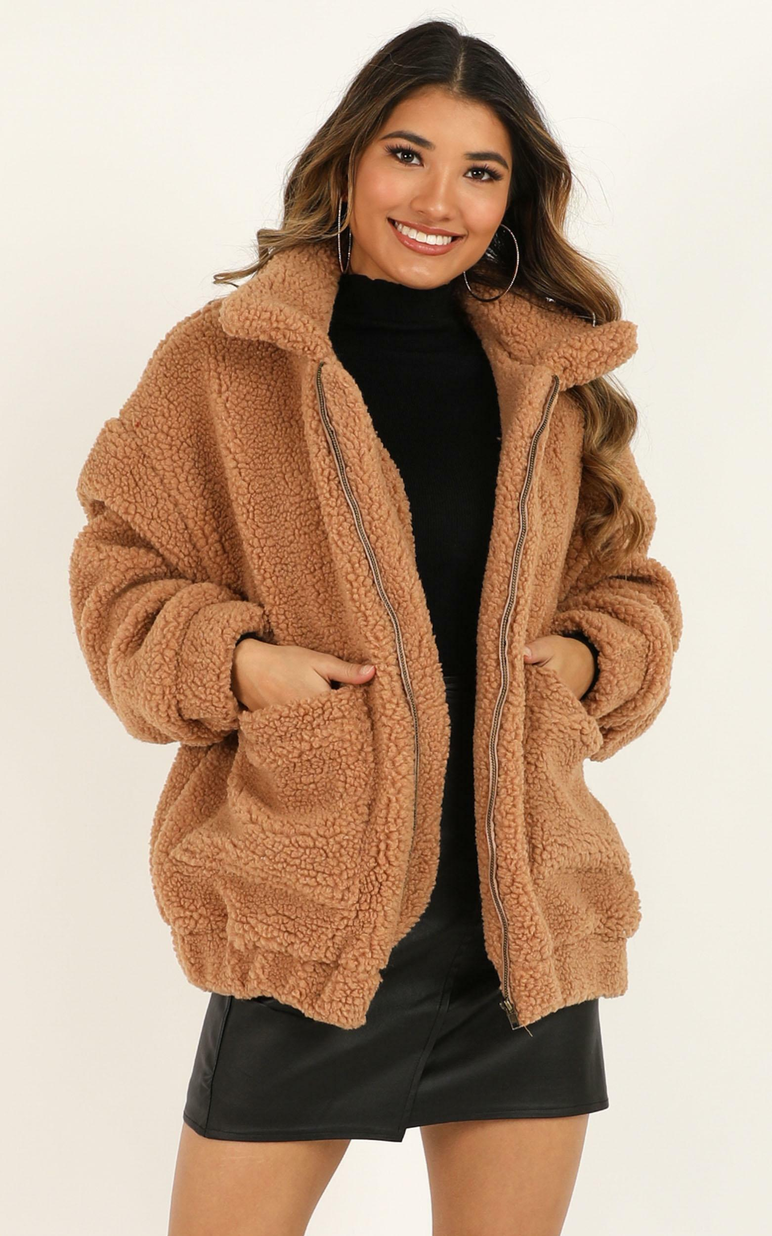 Point Blank jacket in mocha teddy - OneSize, Mocha, hi-res image number null