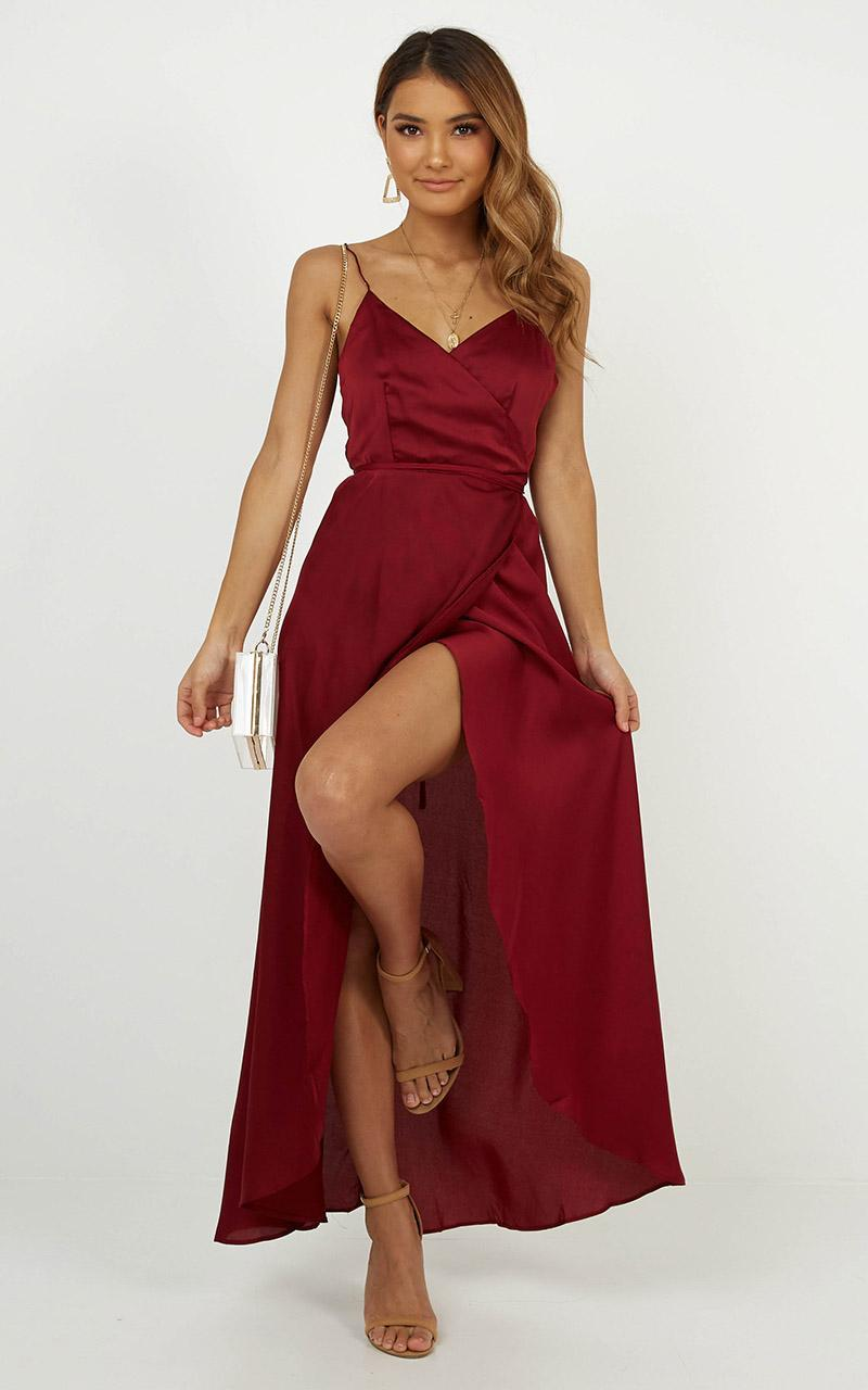 The Countess Dress In Wine Satin - 6 (XS), WNE1, hi-res image number null