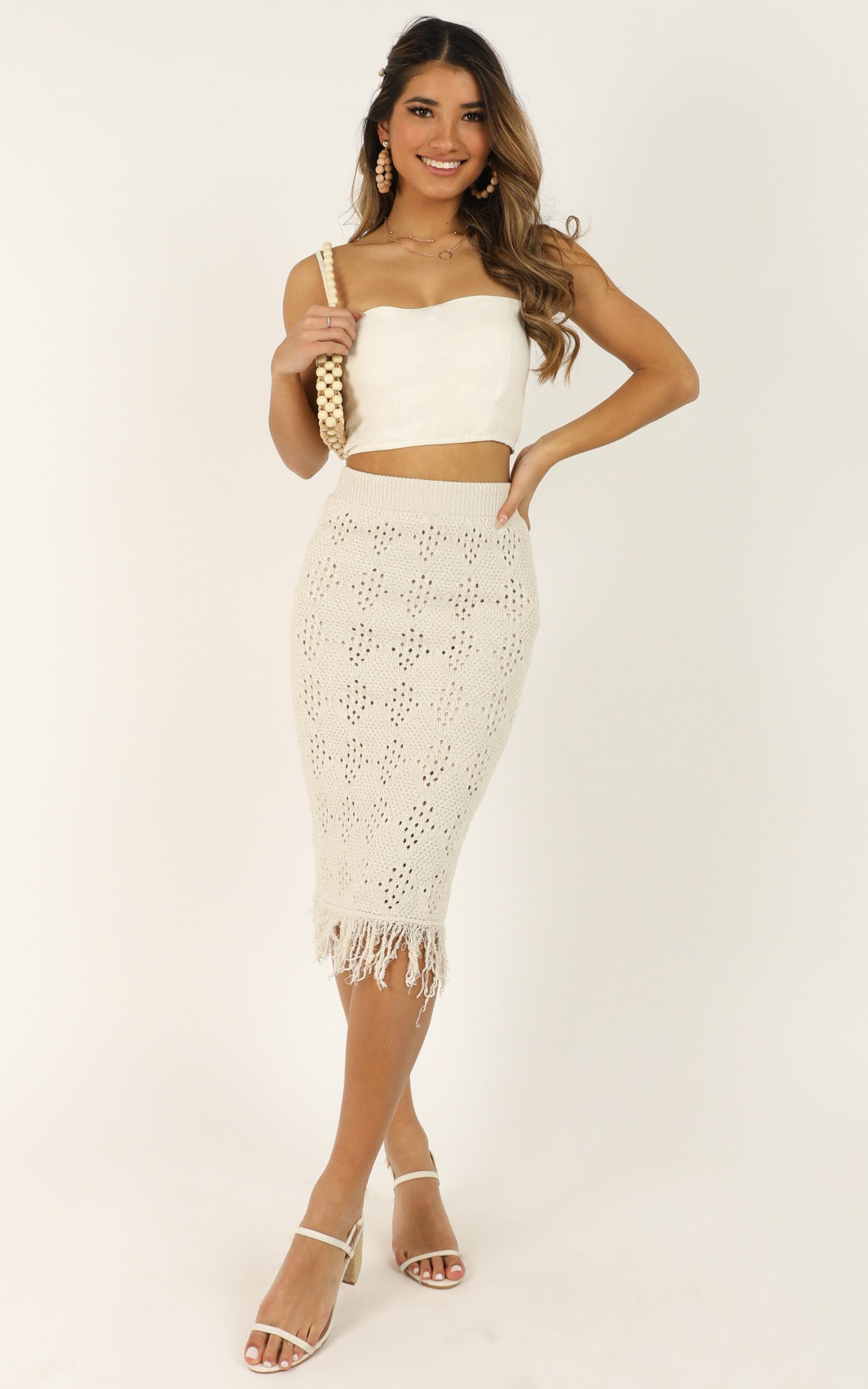 You Got Me Now crochet skirt in cream - 12 (L), Cream, hi-res image number null