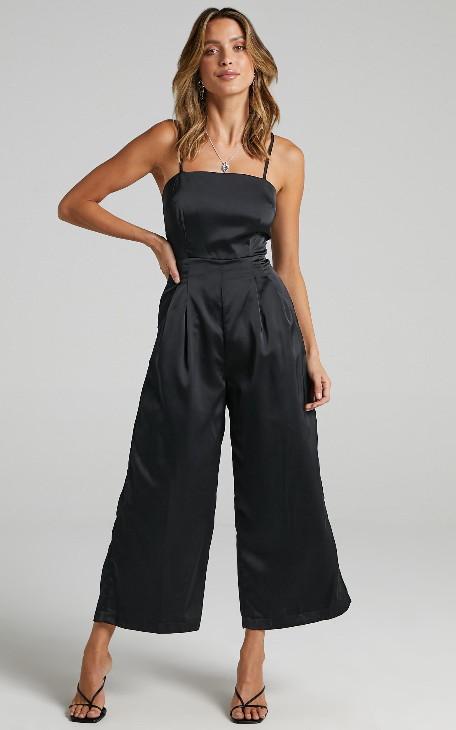 Daisy Jumpsuit in Black Satin - 6 (XS), Black, hi-res image number null
