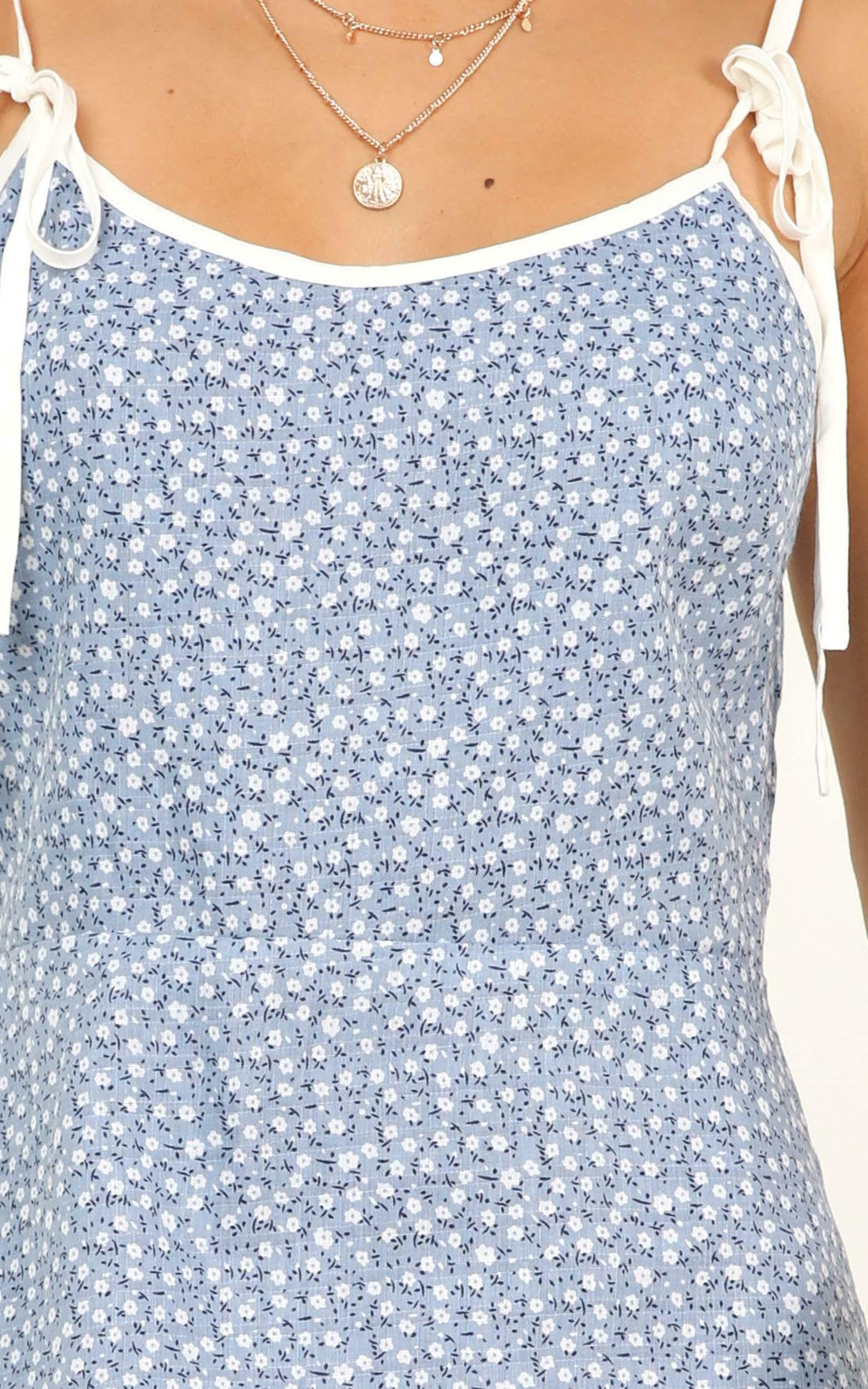 Blushing Lady Dress in blue floral - 18 (XXXL), Blue, hi-res image number null