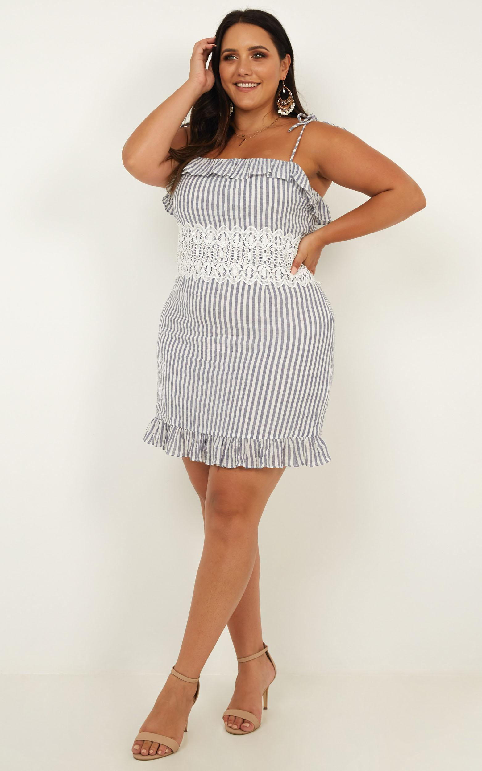 String of Love dress in blue stripe - 20 (XXXXL), Blue, hi-res image number null