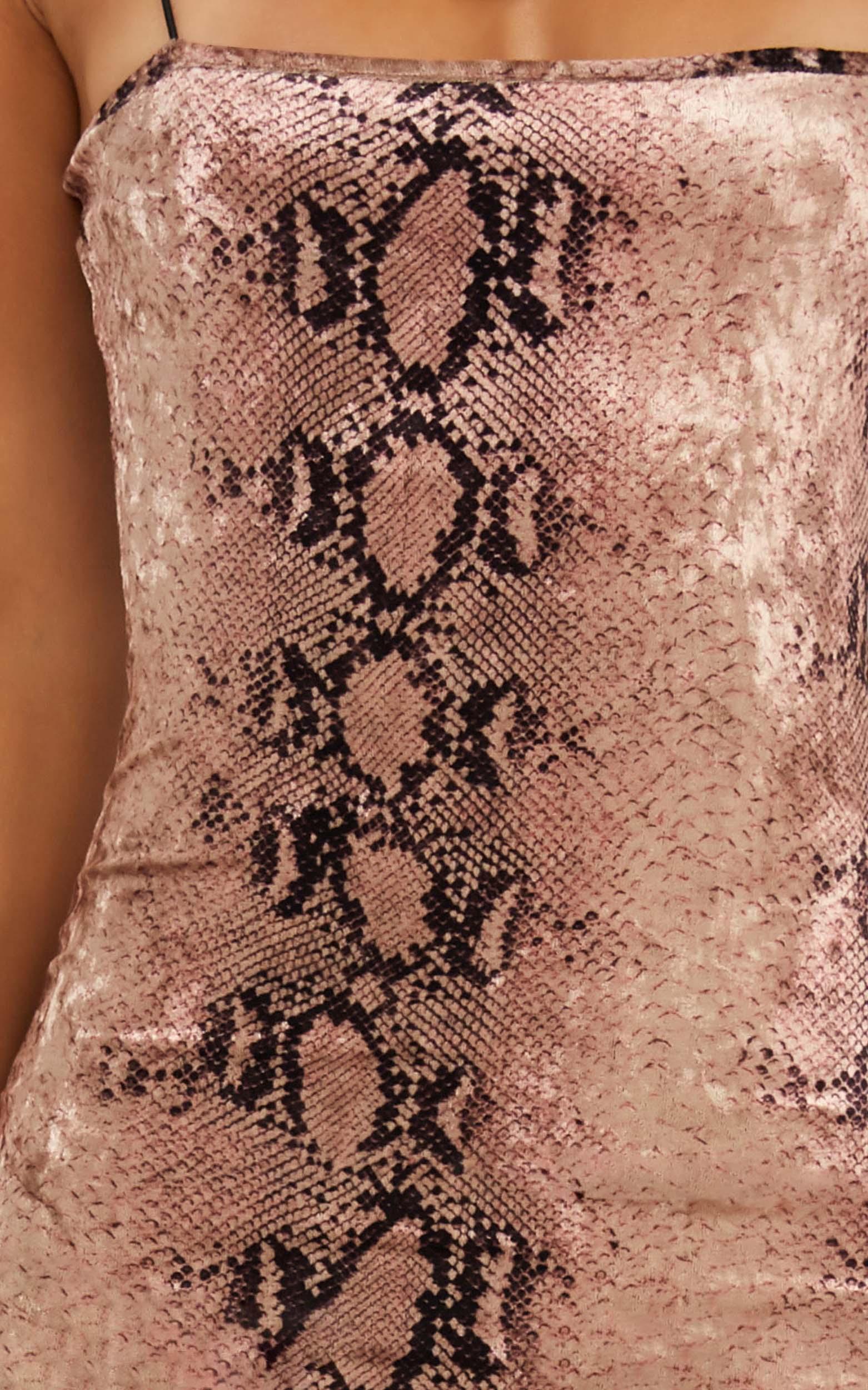 Shake It Out Dress in pink snake velvet - 14 (XL), Pink, hi-res image number null