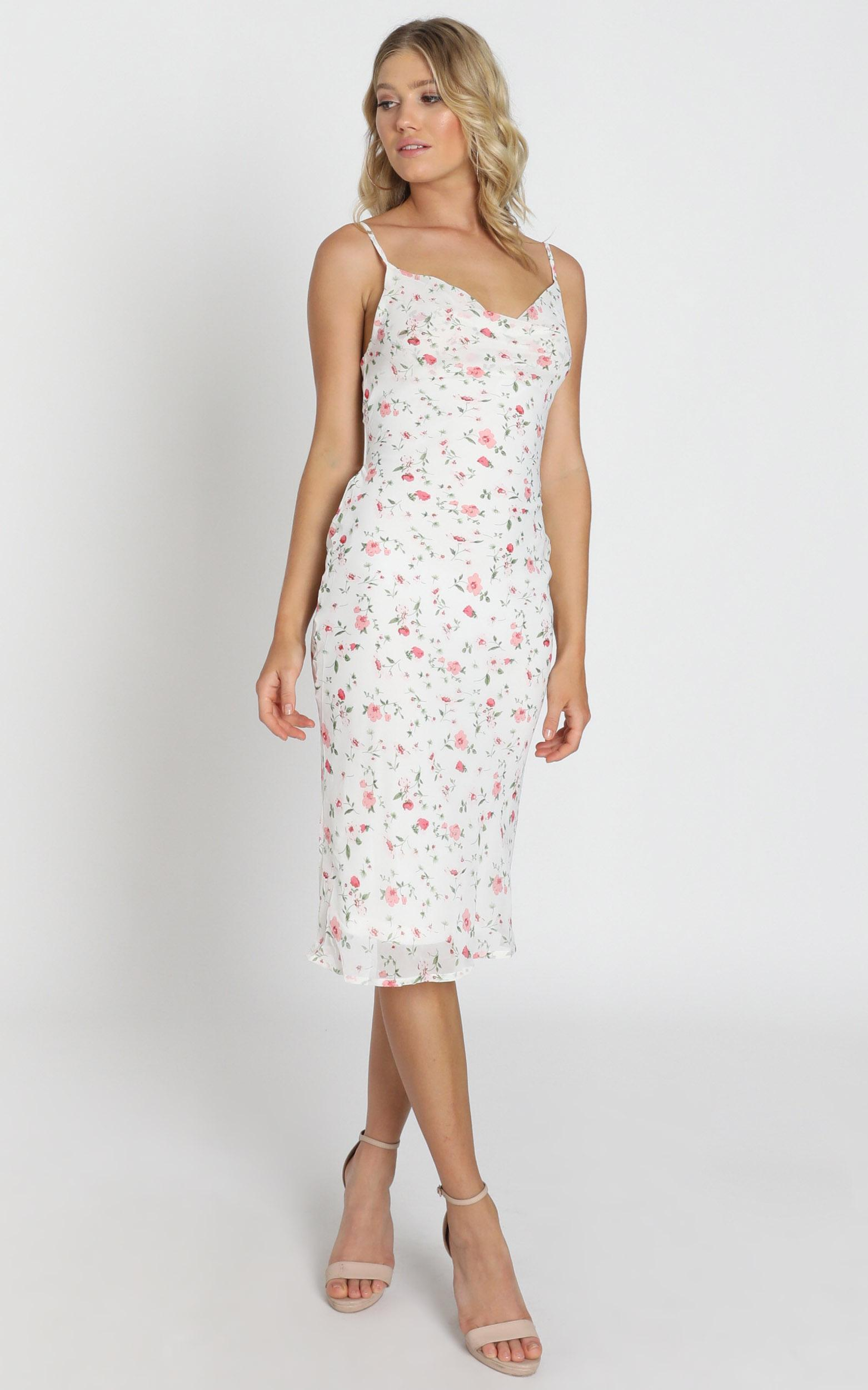 Elki Midi Dress in white floral - 6 (XS), White, hi-res image number null