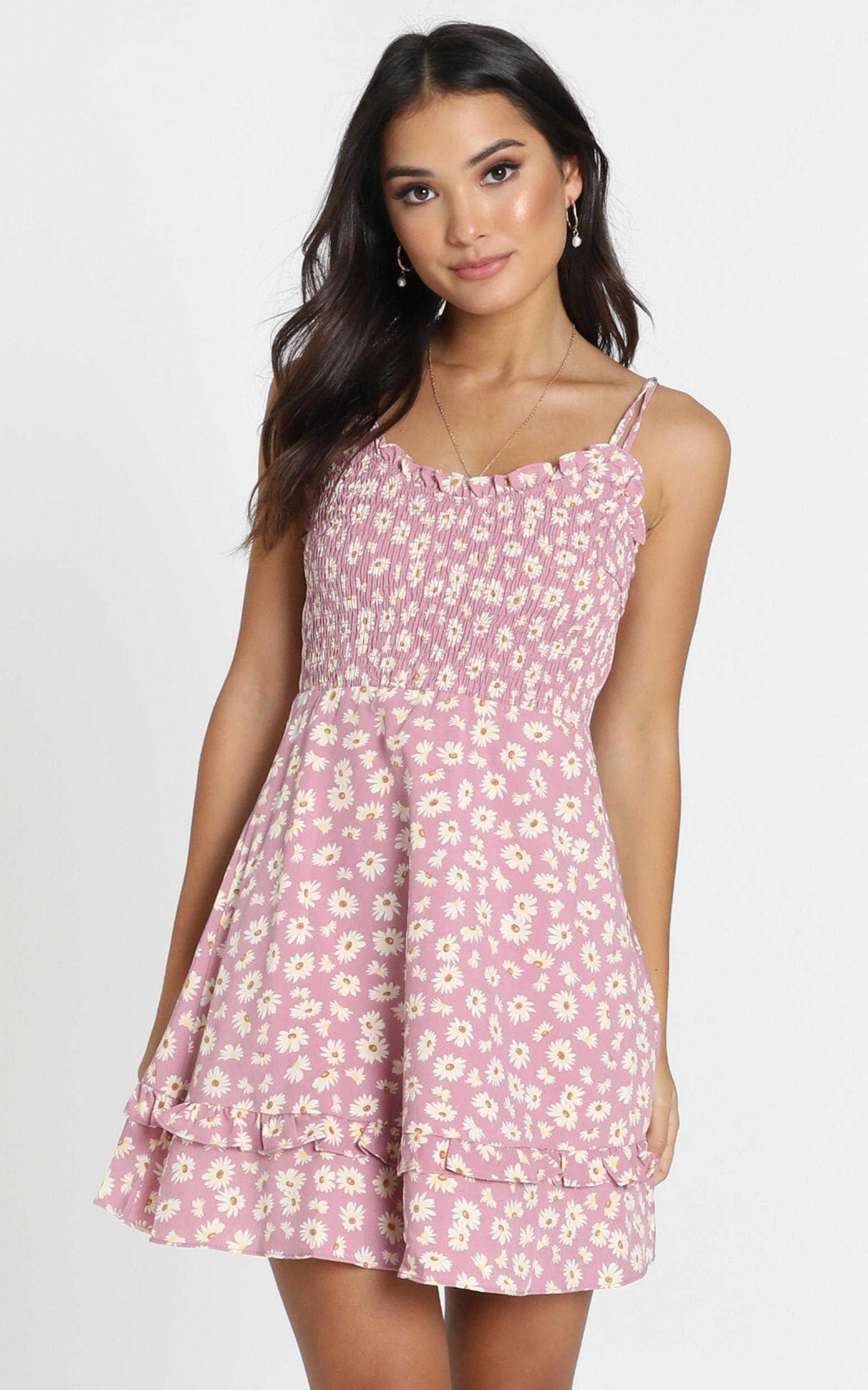 Serenity Shirred Bodice Mini Dress in pink floral - 12 (L), Pink, hi-res image number null