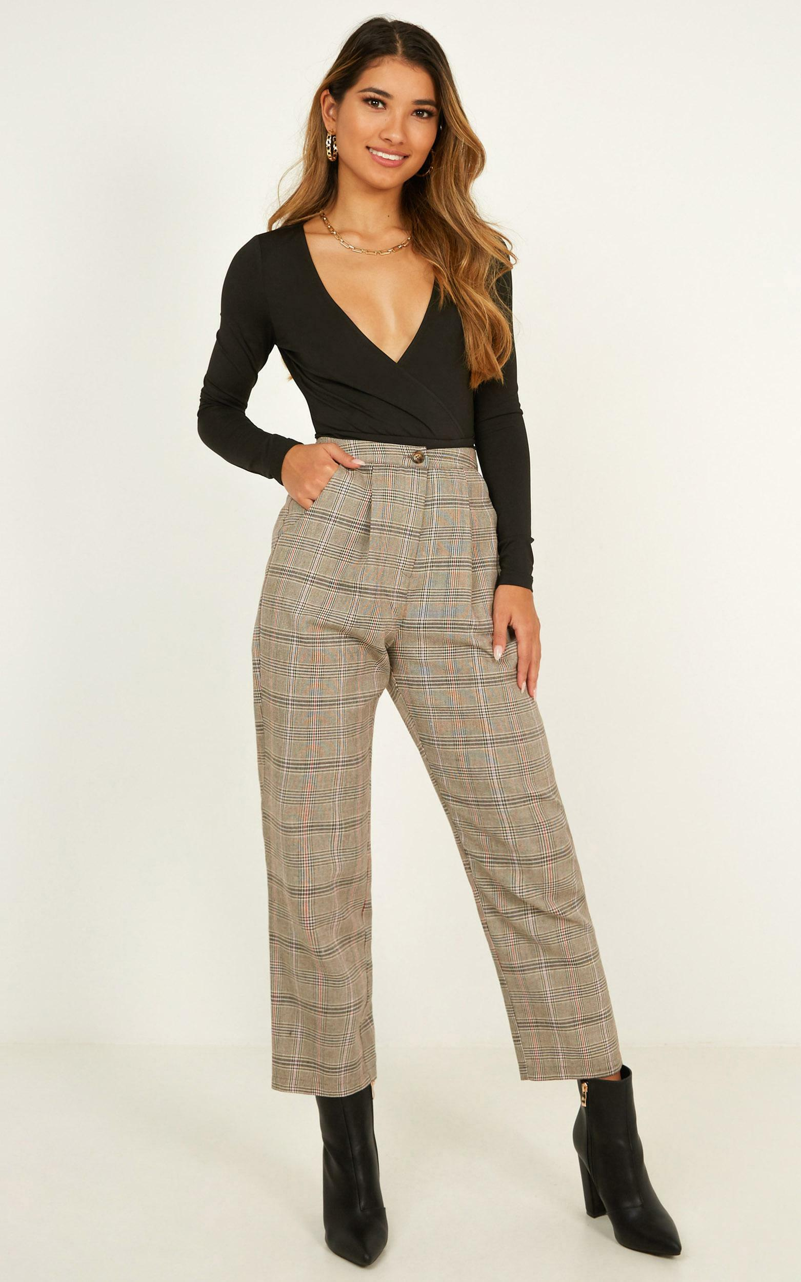 Alpine Pants In chocolate check - 8 (S), Brown, hi-res image number null