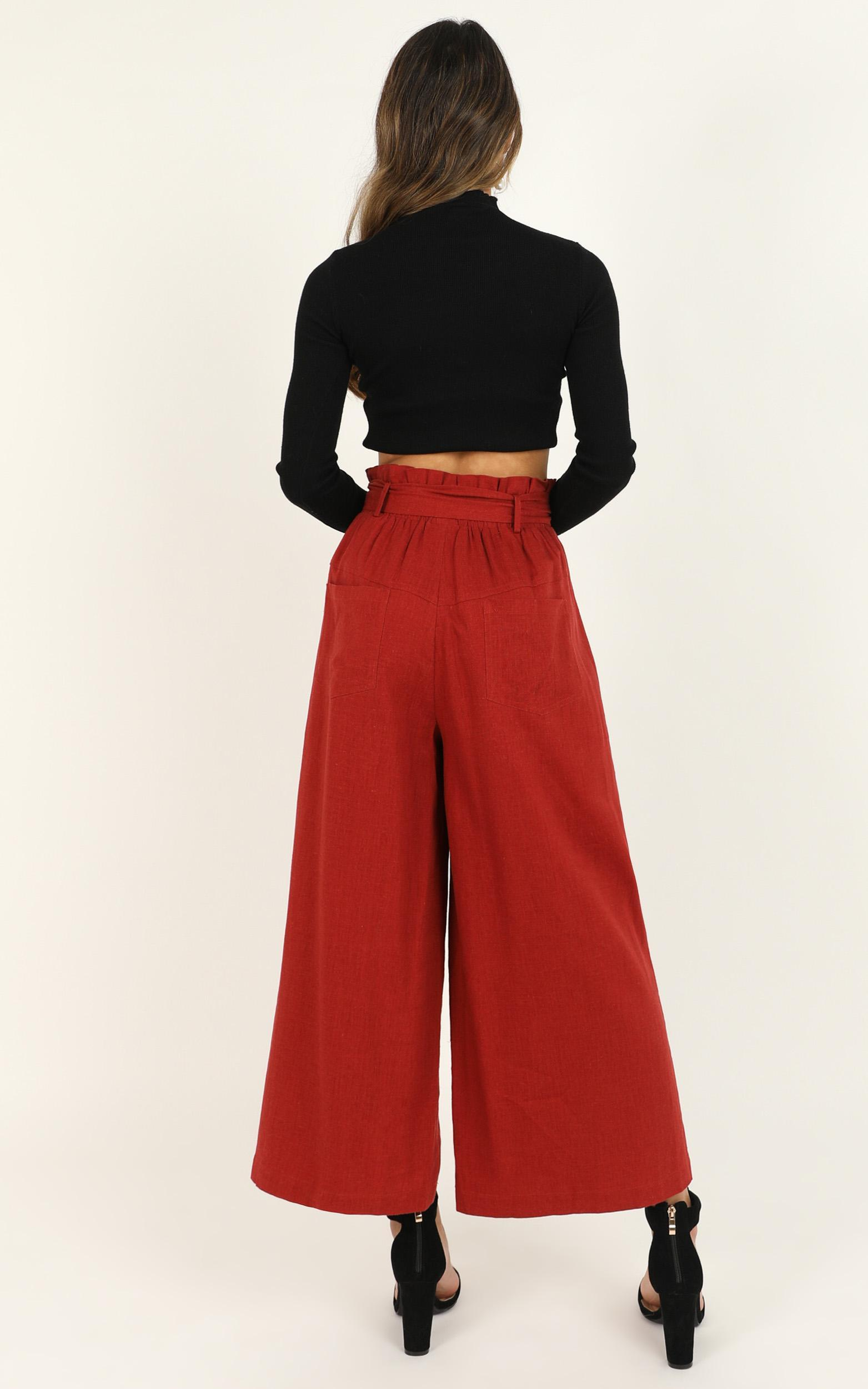 Before I Fall Pants in rust linen look - 12 (L), Rust, hi-res image number null