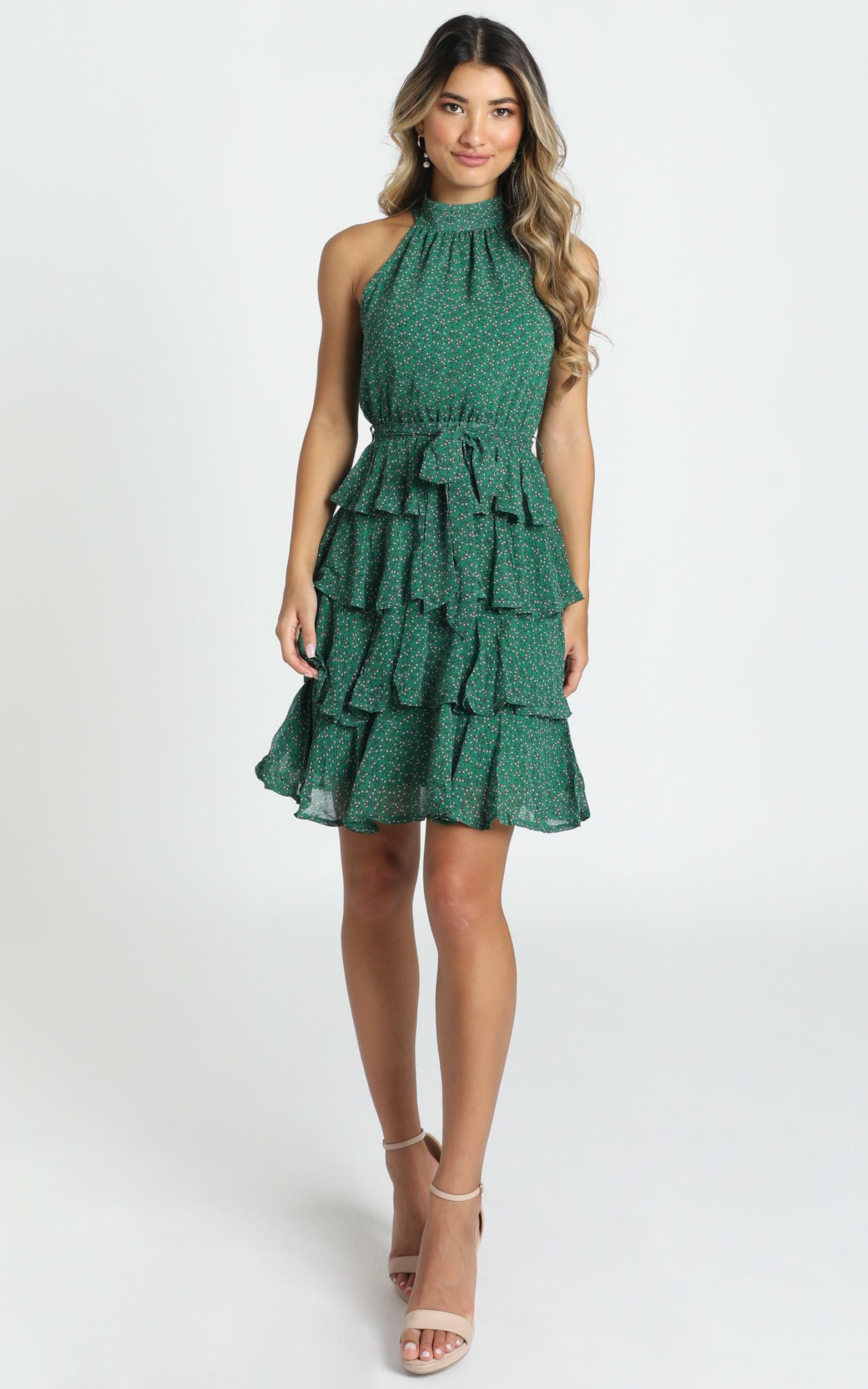 Blythe High Neck Mini Dress in emerald print - 12 (L), Green, hi-res image number null