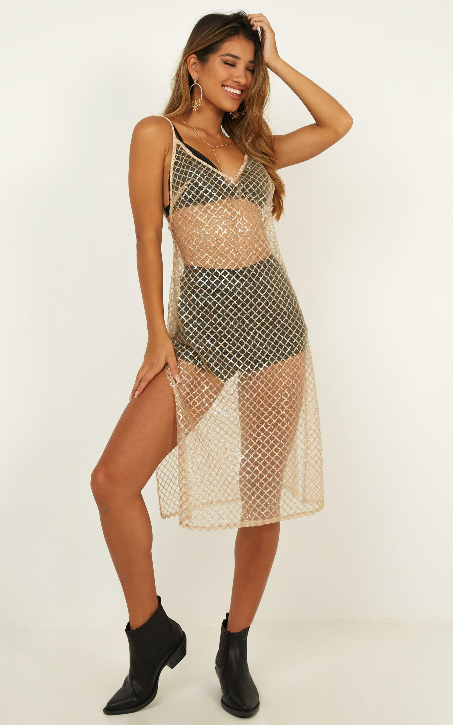 No Relief Dress In champage sequin mesh - 16 (XXL), Blush, hi-res image number null