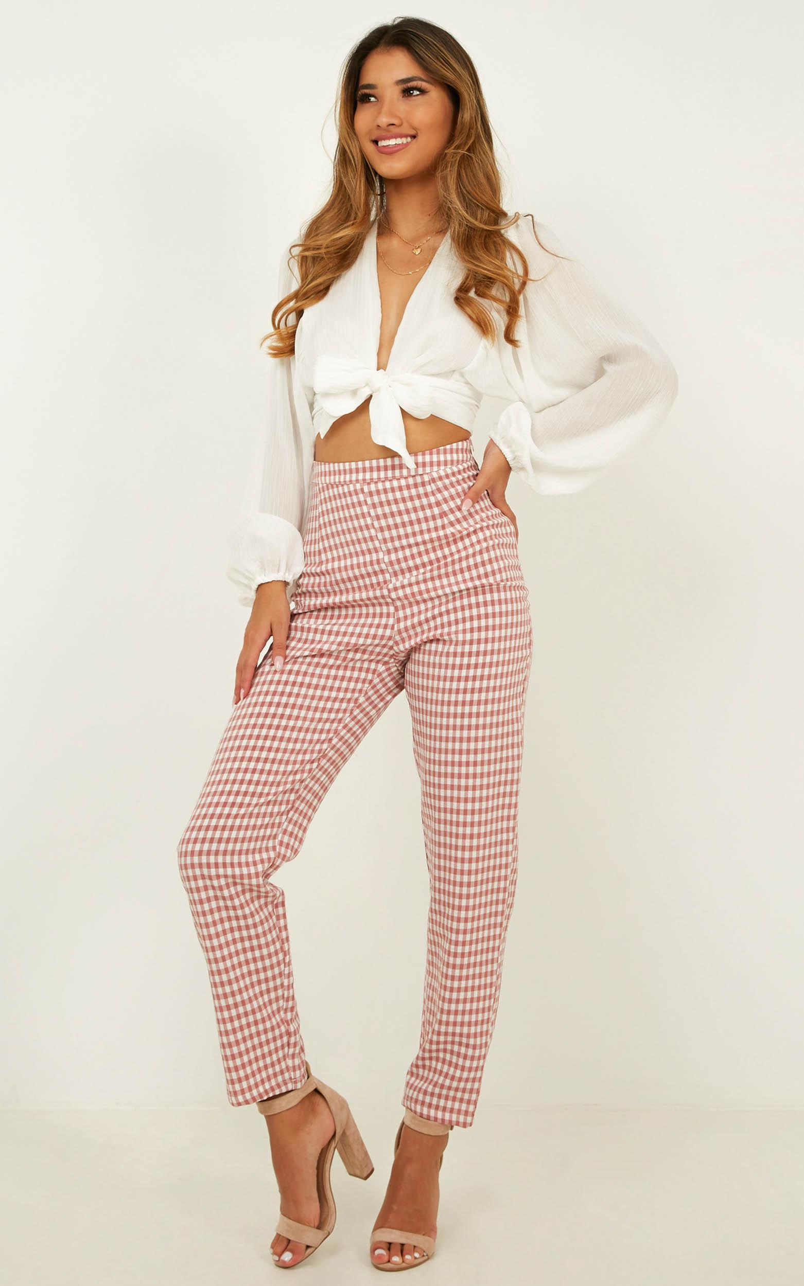 That Girl He Talks About Pants In blush gingham - 16 (XXL), Blush, hi-res image number null