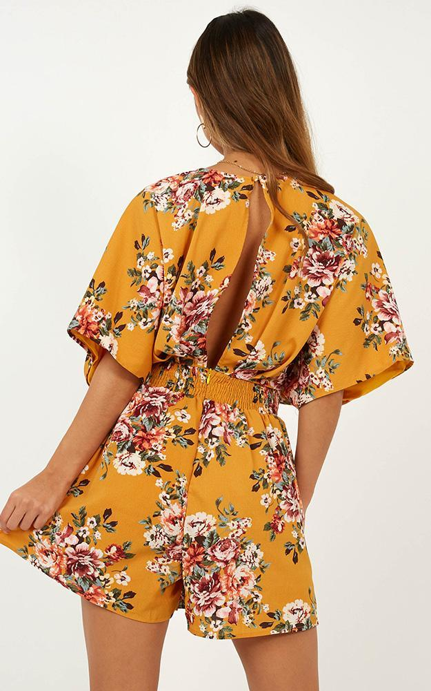 Lost In The Wind Playsuit in Mango Floral  - 18 (XXXL), Yellow, hi-res image number null