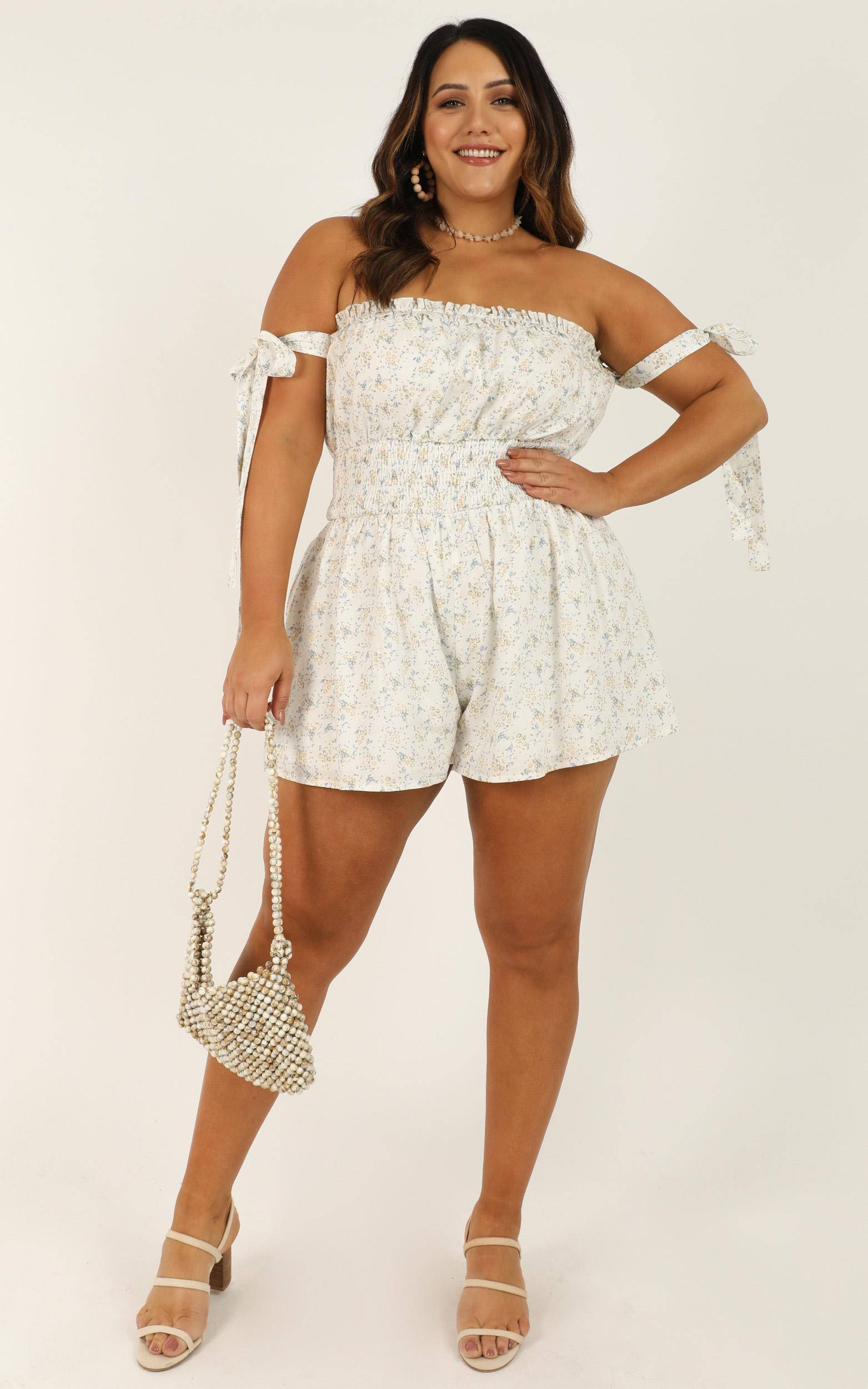 All in the Tricks Playsuit in white floral - 20 (XXXXL), White, hi-res image number null