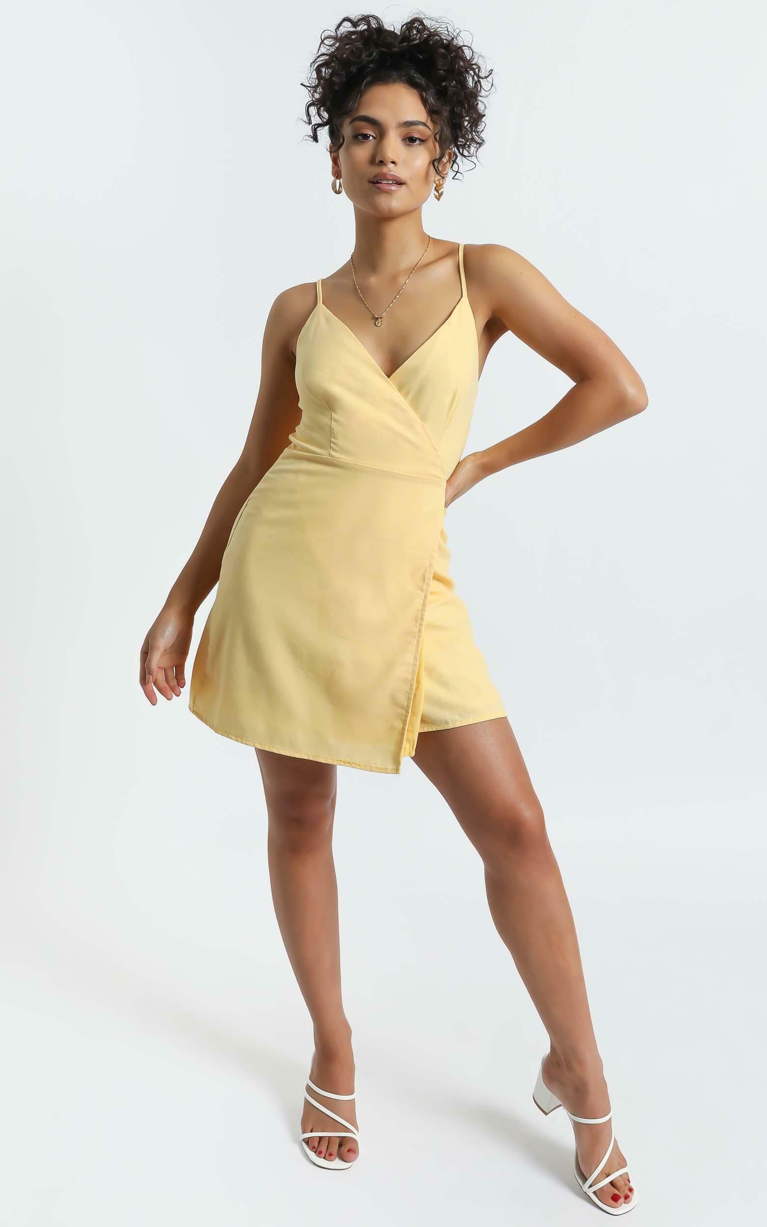 Whisper it Dress in Lemon Linen Look - 04, YEL4, hi-res image number null
